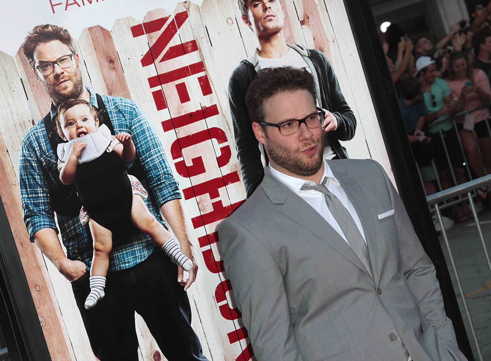 Seth Rogen attends the world premiere of his movie Neighbors in Los Angeles on April 28, 2014