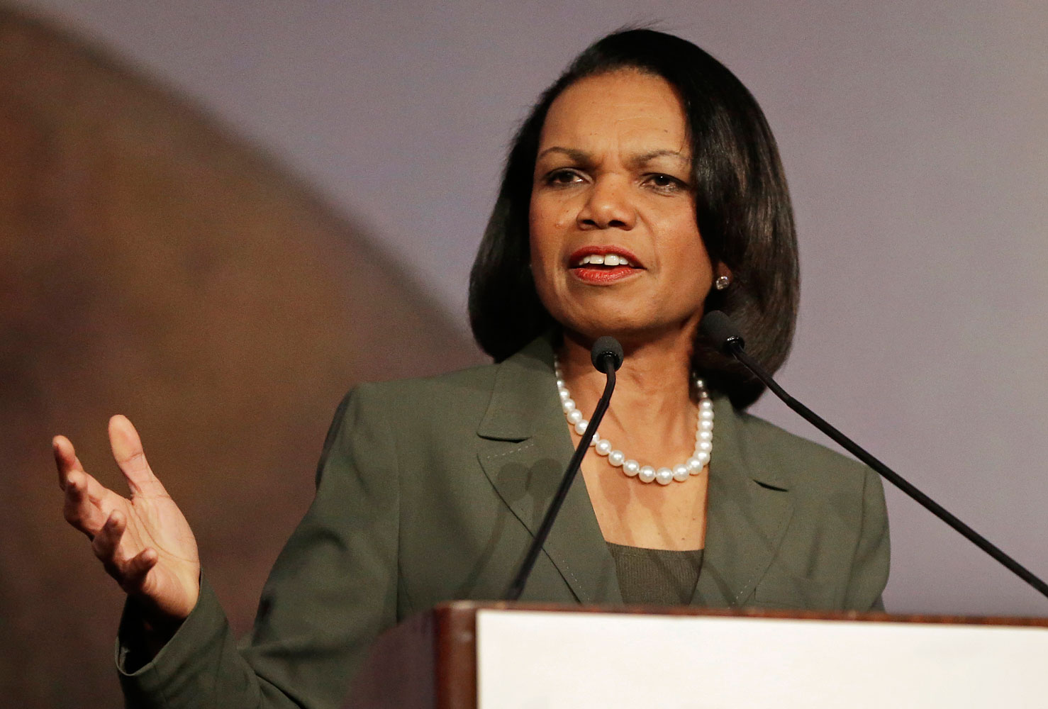 Former Secretary of State Condoleezza Rice speaks at the California Republican Party 2014 Spring Convention in Burlingame, Calif, March 15, 2014.