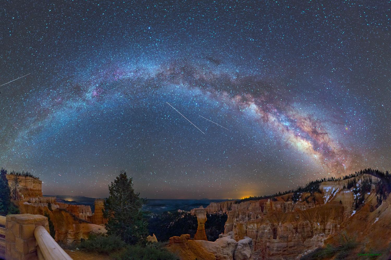 Eta Aquarid meteors above Bryce Canyon in Utah, in May 2014.