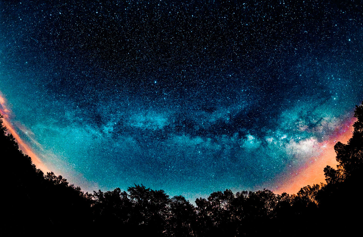 A panorama of the Milky Way taken from Fall Creek Falls State Park during the Eta Aquarid meteor shower on May 4, 2014.