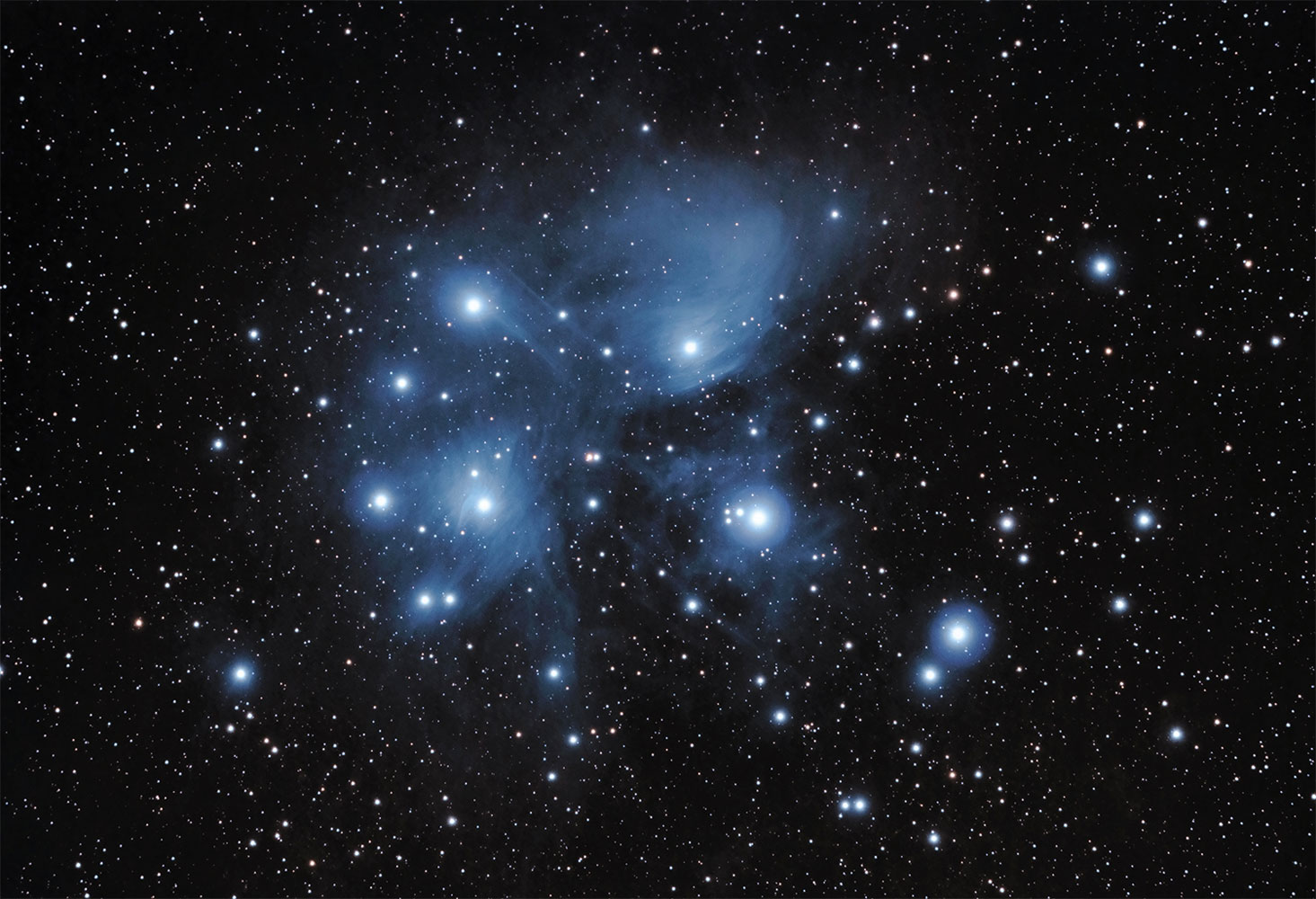 The Pleiades, also known as M45 or the Seven Sisters, imaged from Fayetteville, Ark., on Jan. 25, 2014.