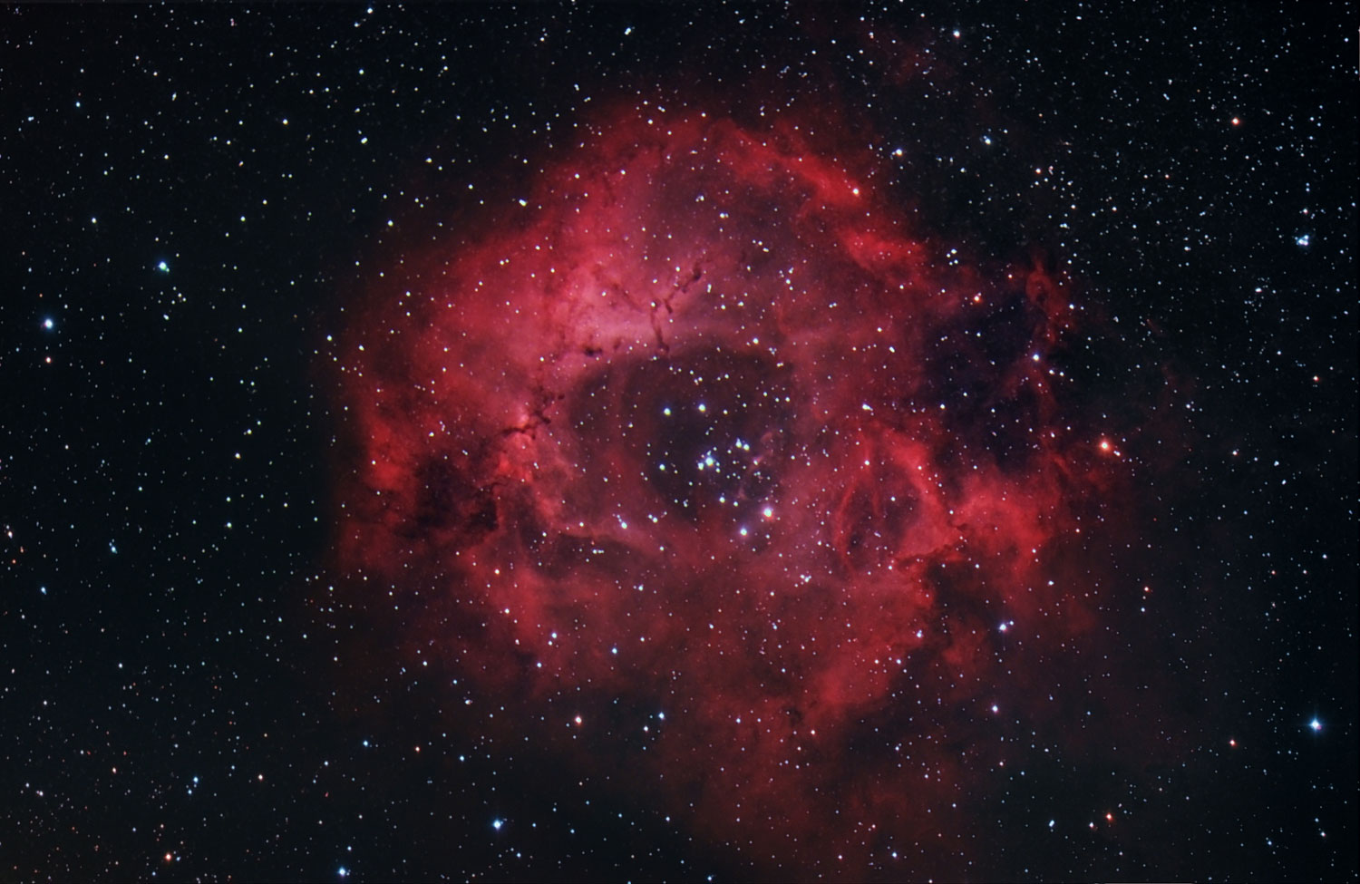 The Rosette nebula, also known as NGC 2237 or Caldwell 49, taken from Seneca, Ill., in March 2014.