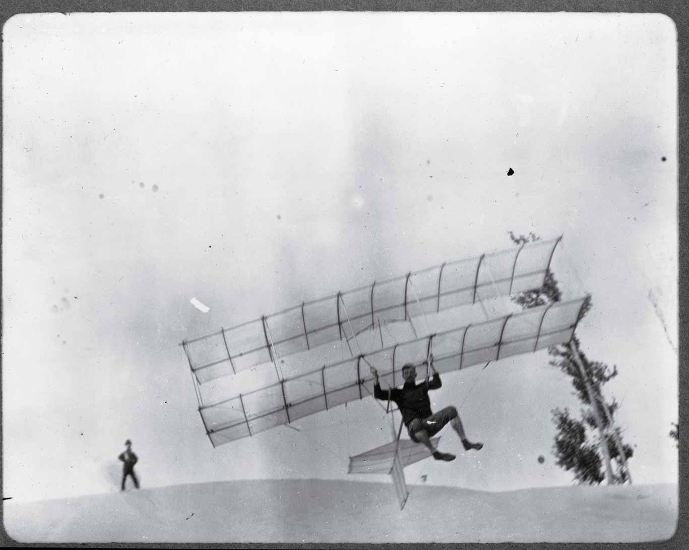 Augustus Herring, who later joined forces with a rival of the Wright brothers', Glenn Curtiss, tests a Herring-Chanute glider in 1896