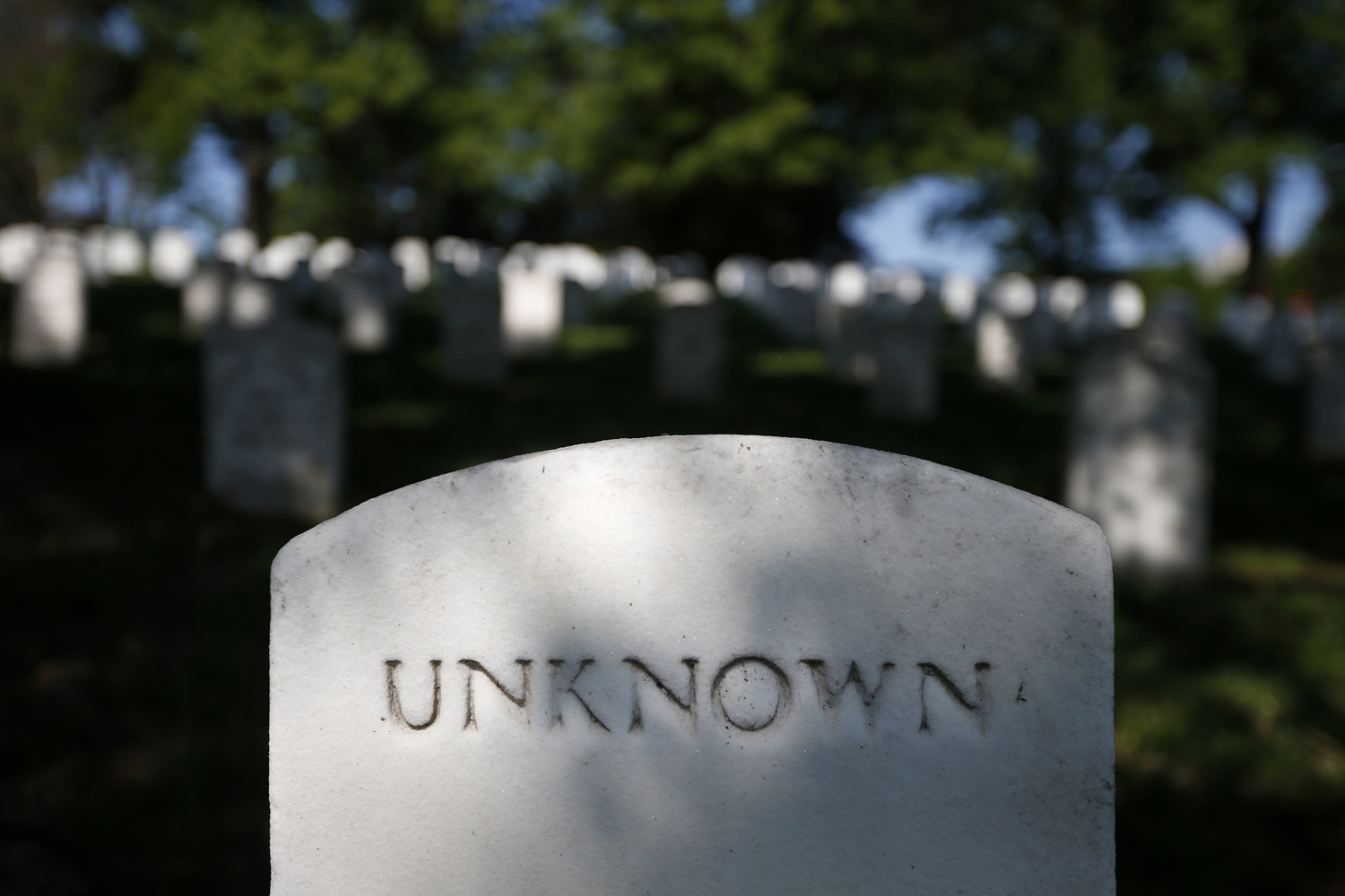May 13, 2014. A grave marker for an unknown soldier lies not far from the gravesite of Army Pvt. William Christman, who was the first military burial at the cemetery, marking the beginning of commemorations of the 150th anniversary of Arlington National Cemetery in Arlington, Va.
