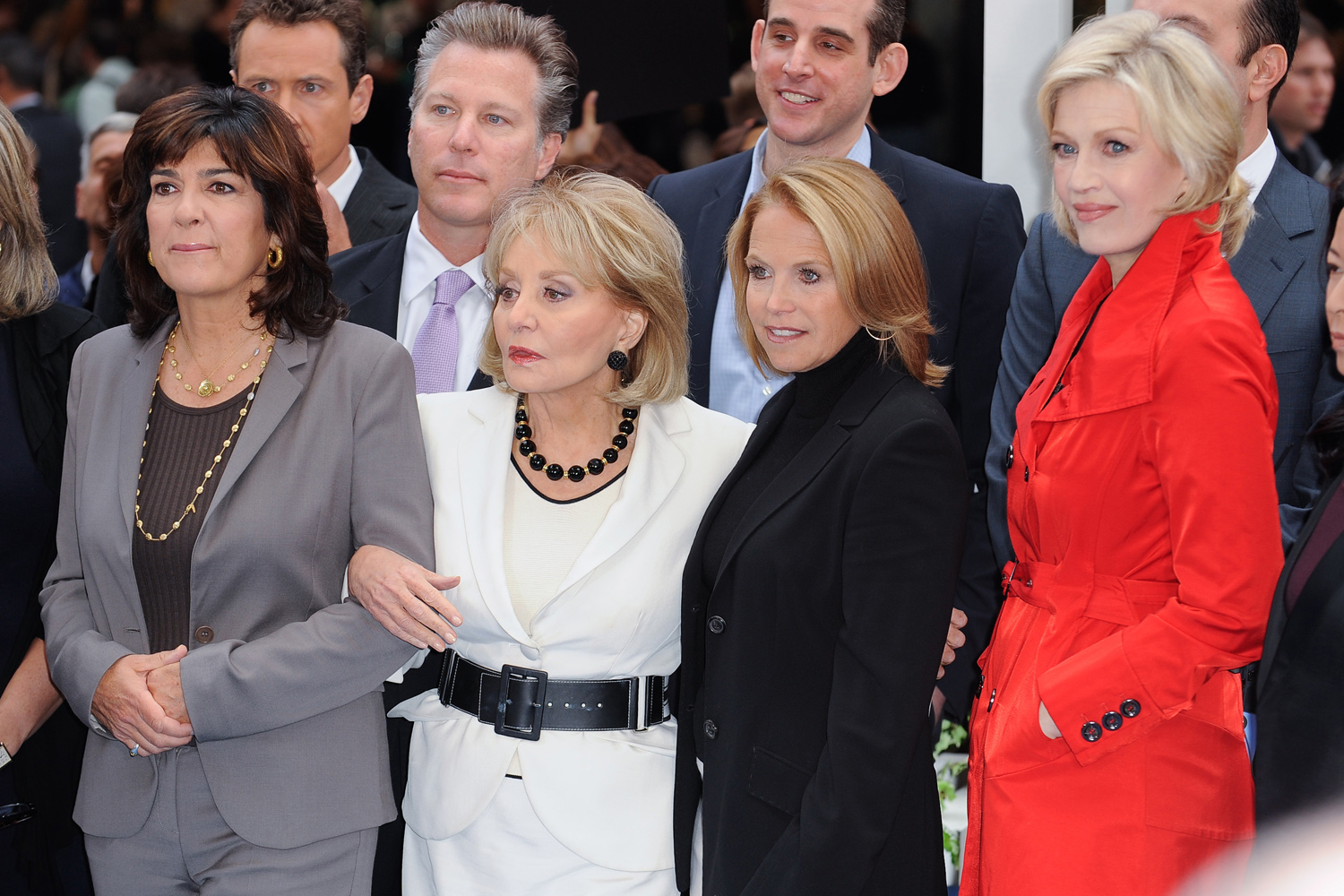 News reporters Christiane Amanpour, Barbara Walters, Katie Couric, and Diane Sawyer tape an interview at  Good Morning America  at the ABC Times Square Studios in New York City, Oct. 3, 2011.