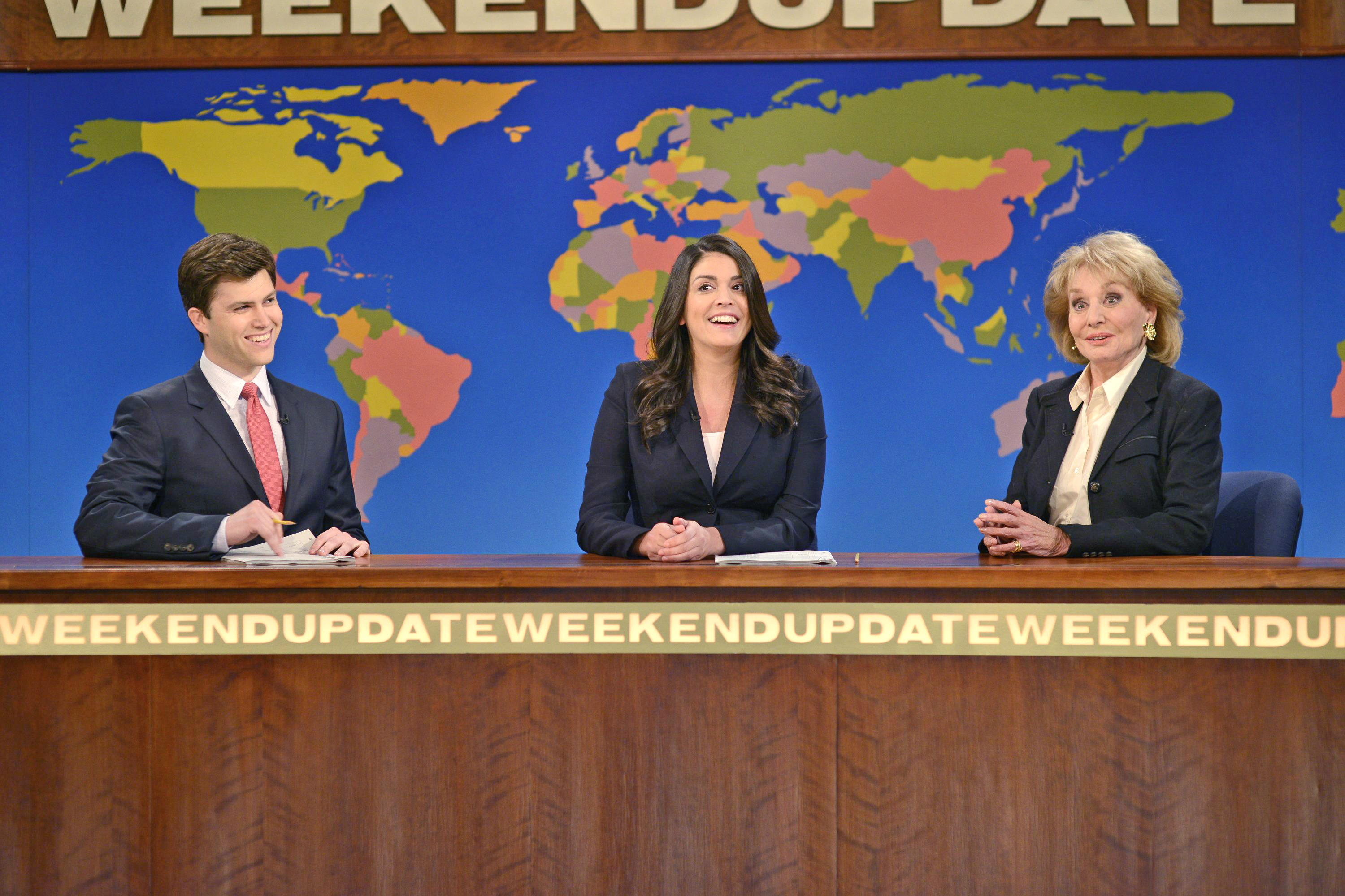 From left: Colin Jost, Cecily Strong and Barbara Walters during Weekend Update on Saturday Night Live on May 10, 2014.