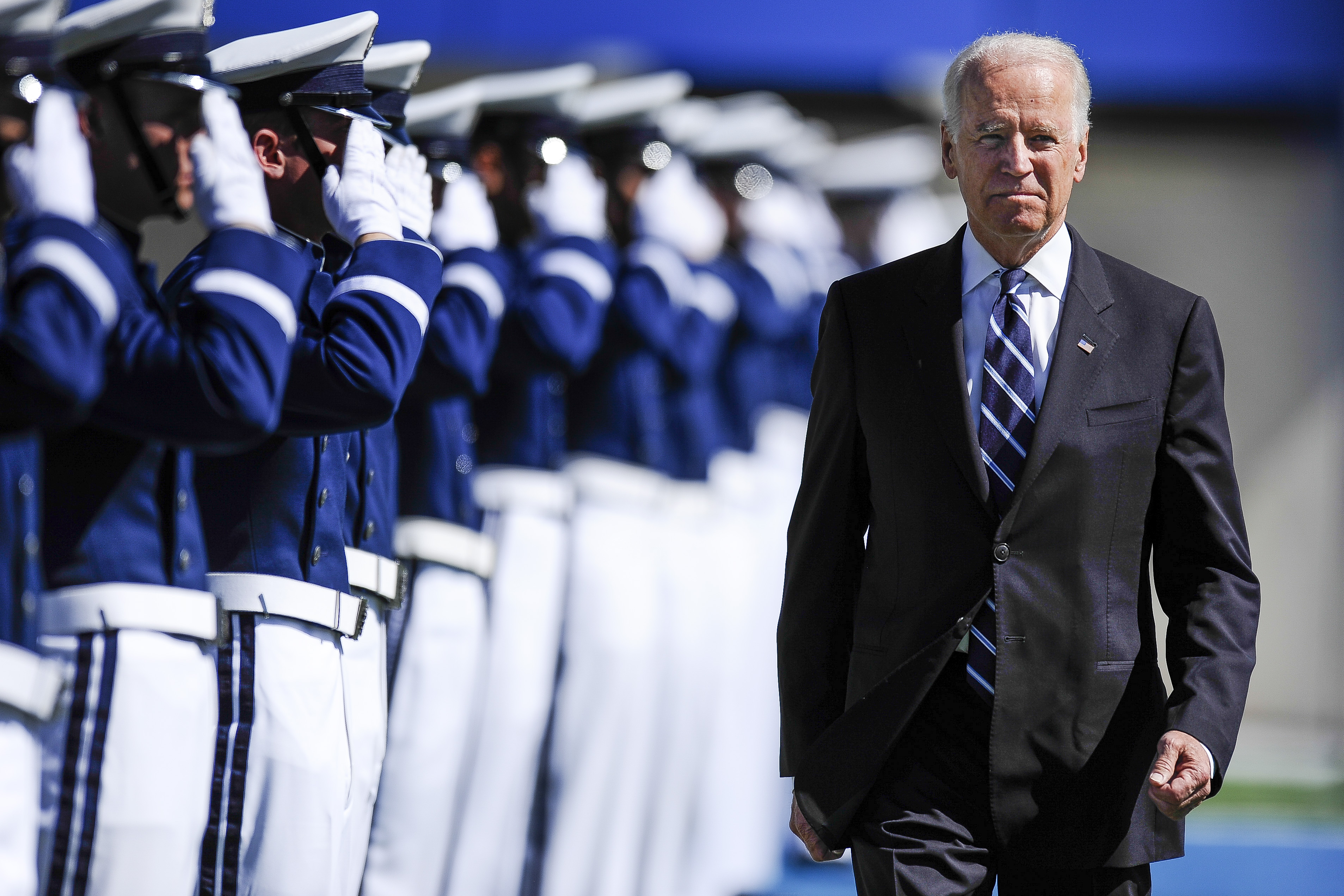 Vice President Joe Biden walks to the stage during the graduation ceremony for the United States Air Force Academy class of 2014 at Falcon Stadium in Colorado Springs, Colo. on May 28, 2014.
