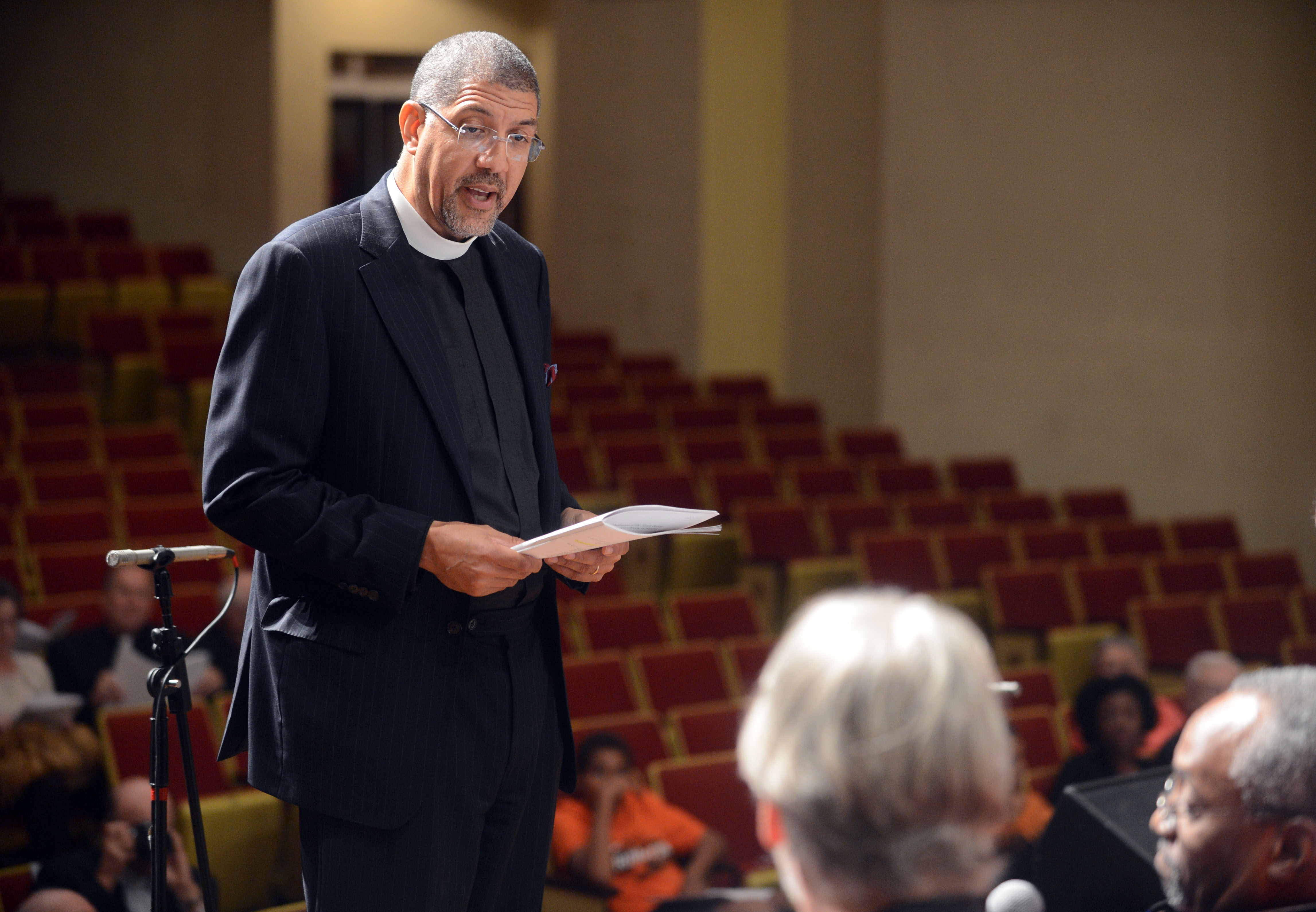 Bishop Rev. Robert Christopher Wright participates in a rehearsal for his installation service at the Martin Luther King Jr. International Chapel on the campus of Morehouse College in Atlanta on Oct. 12, 2012.