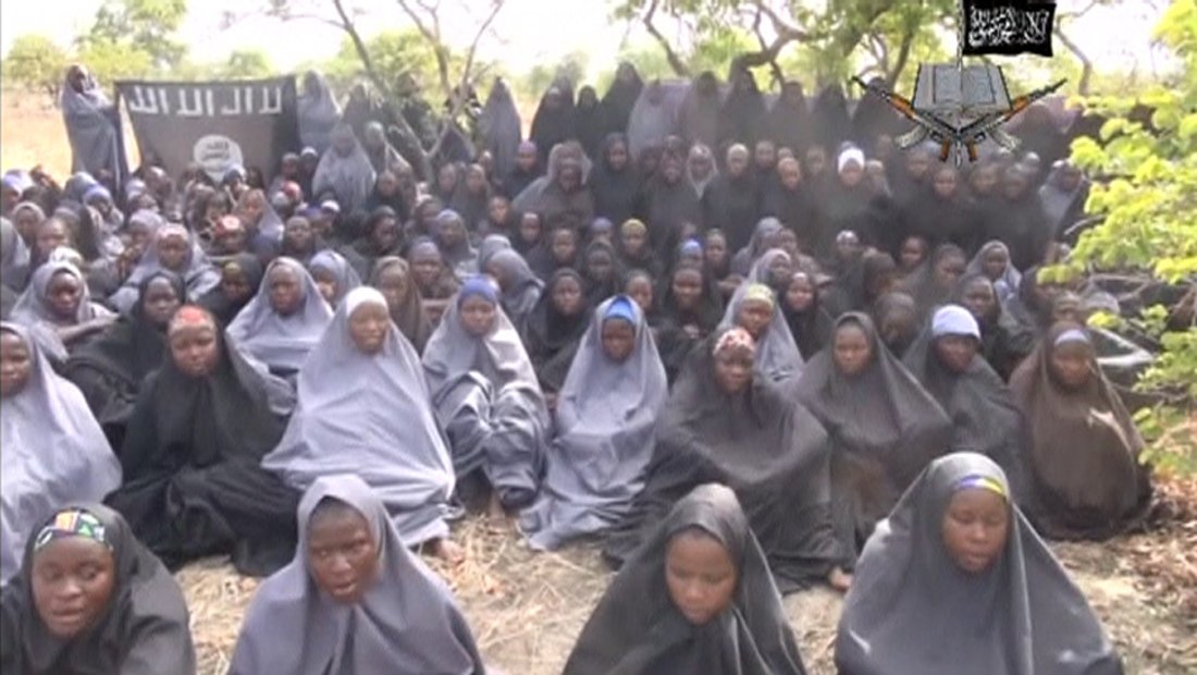 Kidnapped schoolgirls are seen at an unknown location in this still image taken from an undated video released by Boko Haram.