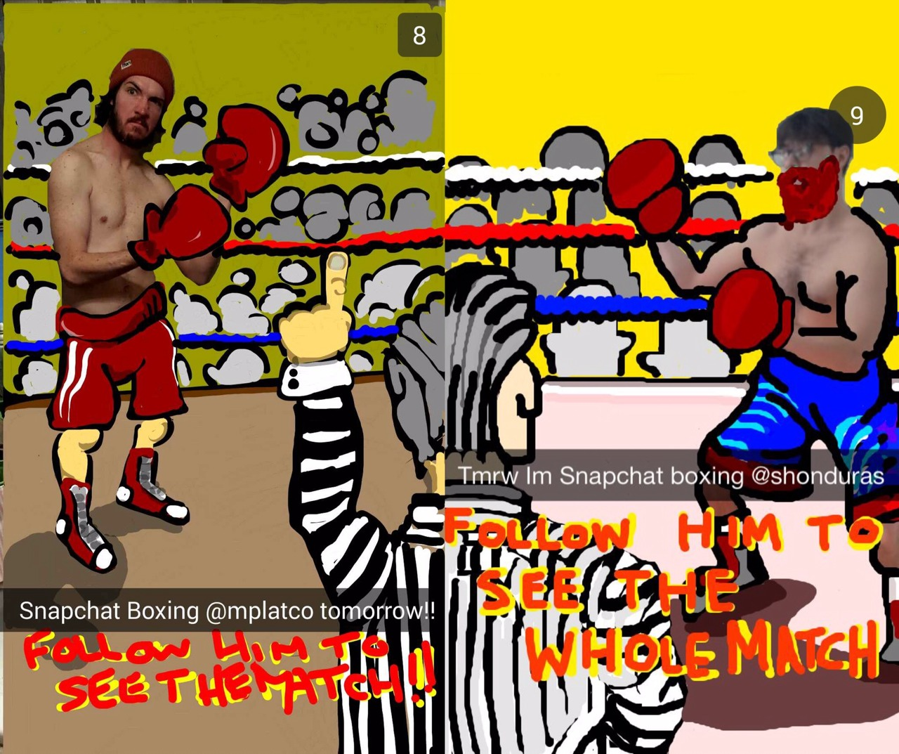 Snapchatters Shonduras and Mplatco sent their followers disappearing photos of them boxing