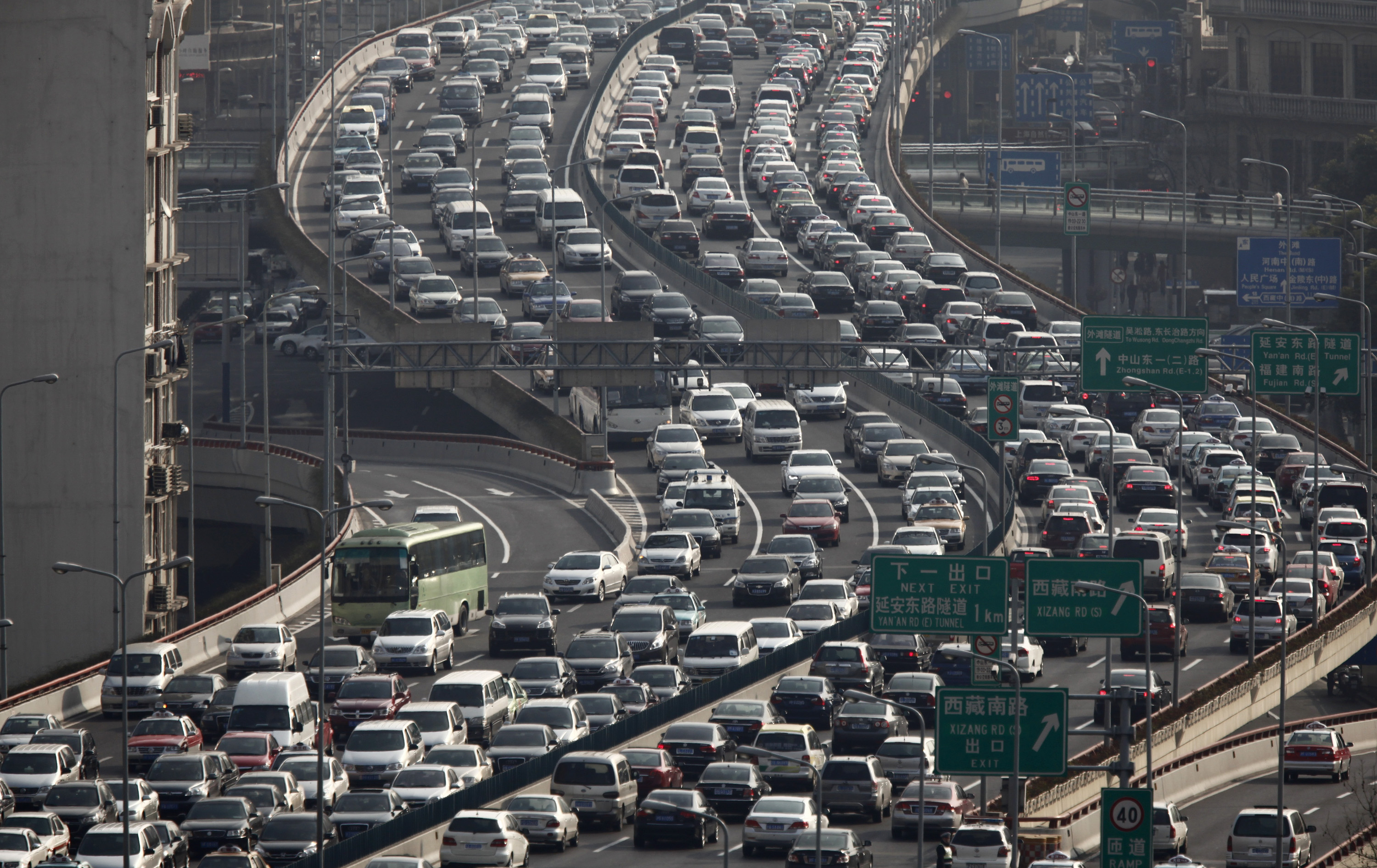 A general view of heavy traffic on a highway during the morning rush hours in Shanghai on March 26, 2012