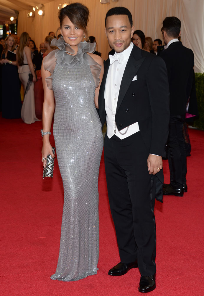 From left: Chrissy Teigen and John Legend attend The Metropolitan Museum of Art's Costume Institute benefit gala celebrating  Charles James: Beyond Fashion  on May 5, 2014, in New York City.