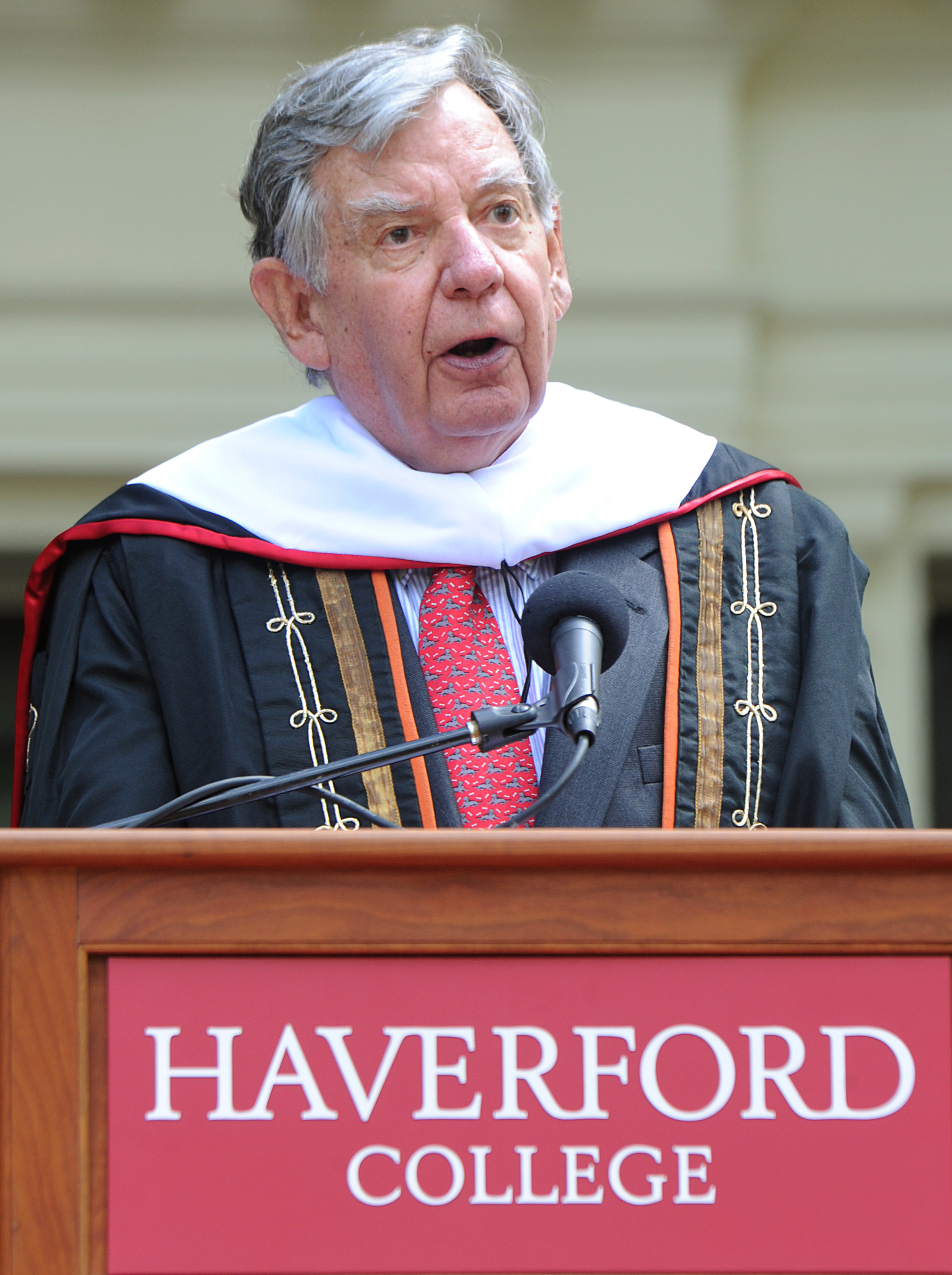 William Bowen, former president of Princeton University, delivers his commencement speech to the graduates of Haverford College on Sunday. He called the controversy over a planned speaker sad and troubling.