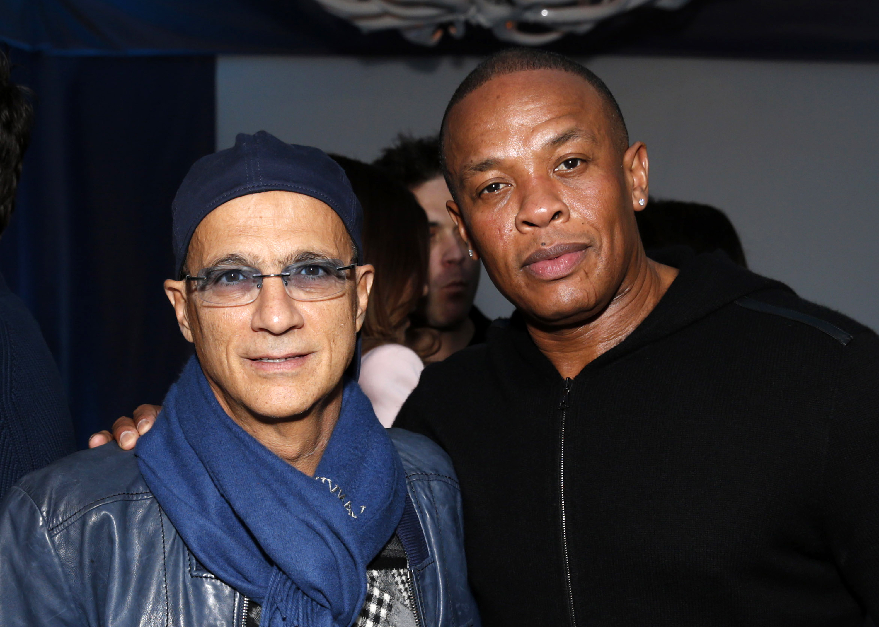 Music industry entrepreneur Jimmy Iovine, left, and hip-hop mogul Dr. Dre at a Grammy Party in Los Angeles on Feb. 10, 2013.