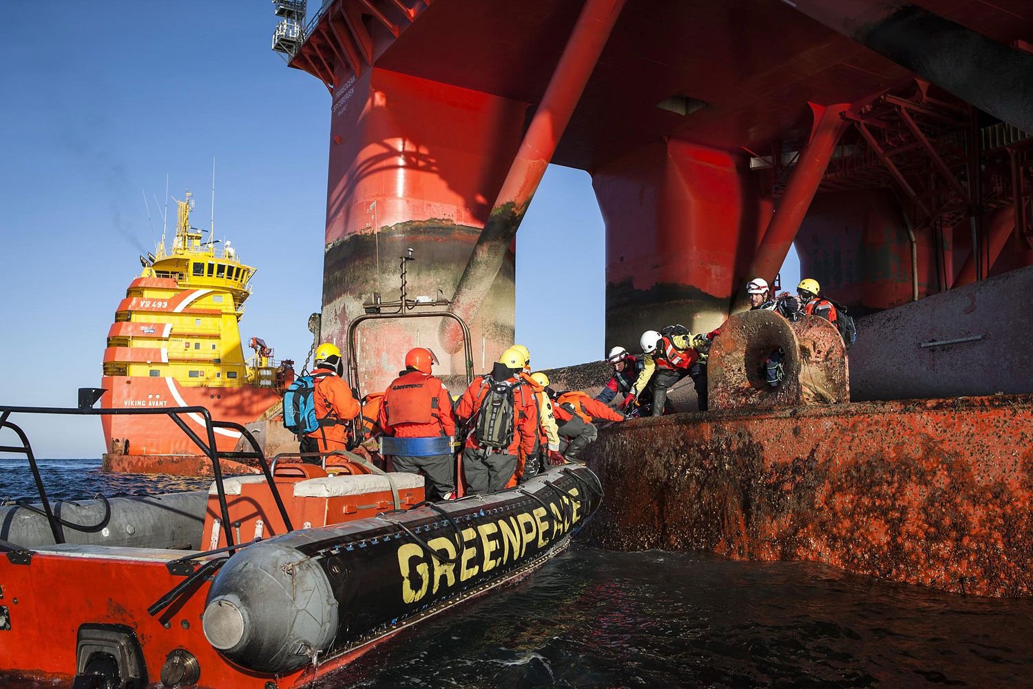 Greenpeace International activists from eight countries scale and occupy Statoil contracted oil rig Transocean Spitsbergen on May 27, 2014 to protest the company's plans to drill the northernmost well in the Norwegian Arctic at the Apollo Prospect of the Barents Sea, close to the Bear Island nature reserve.