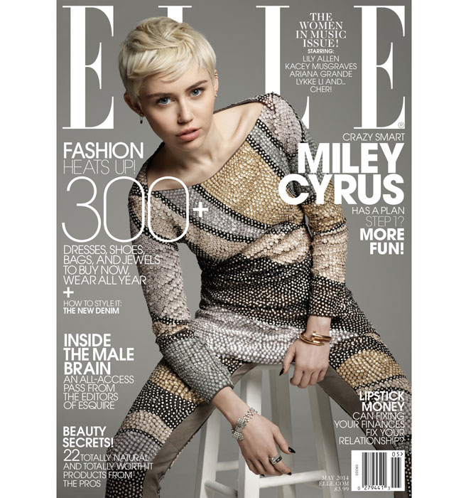 Miley Cyrus on the cover of the May 2014 issue of Elle Magazine