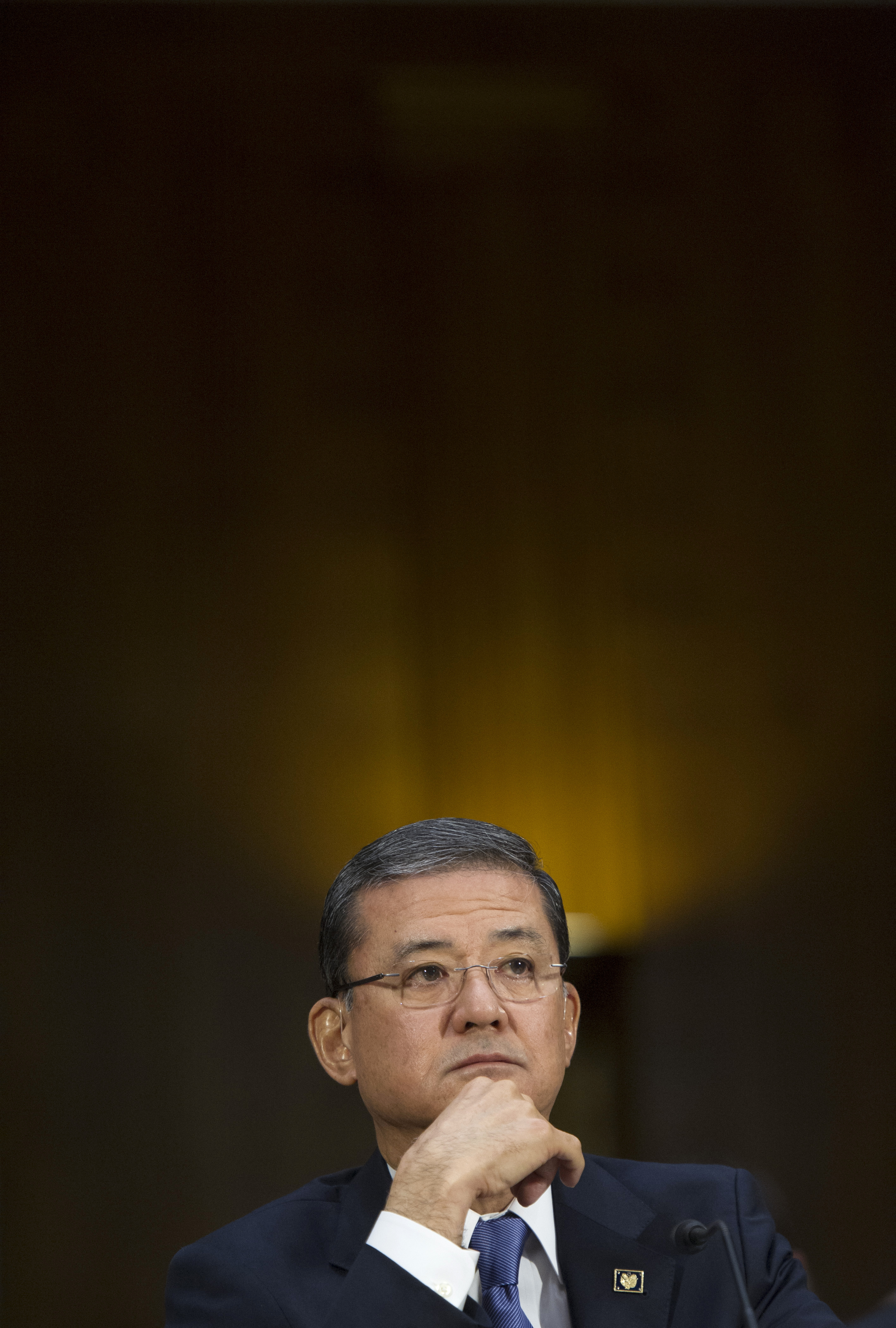 Veterans Affairs Secretary Eric Shinseki testifies on Capitol Hill in Washington, D.C., on May 15, 2014, before the Senate Veterans Affairs Committee hearing to examine the state of Veterans Affairs health care.