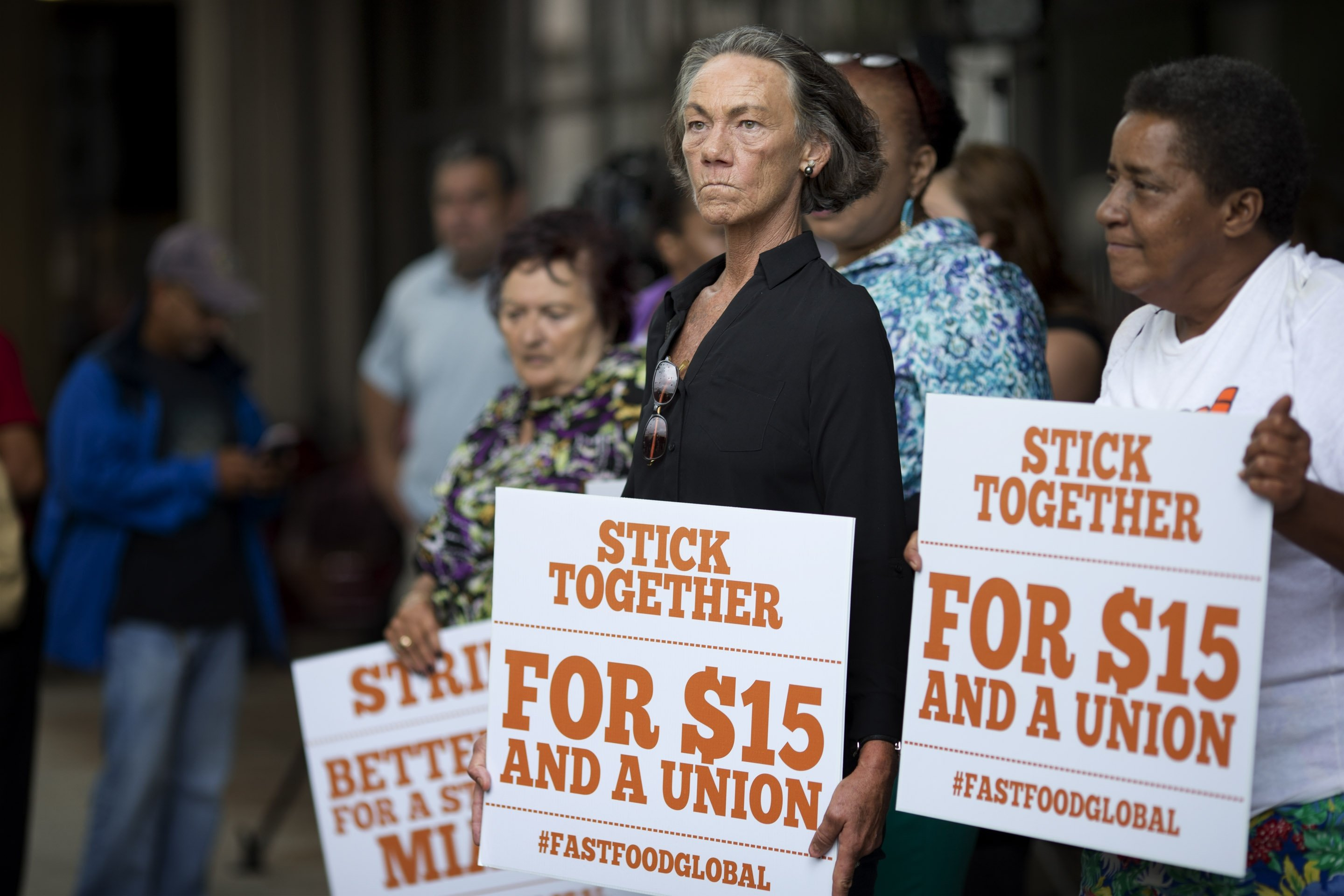 <b>Miami:</b> Deborah Dion, from the Voices for Working Families organization, stands in protest near a McDonald&#039;s on May 15, 2014.