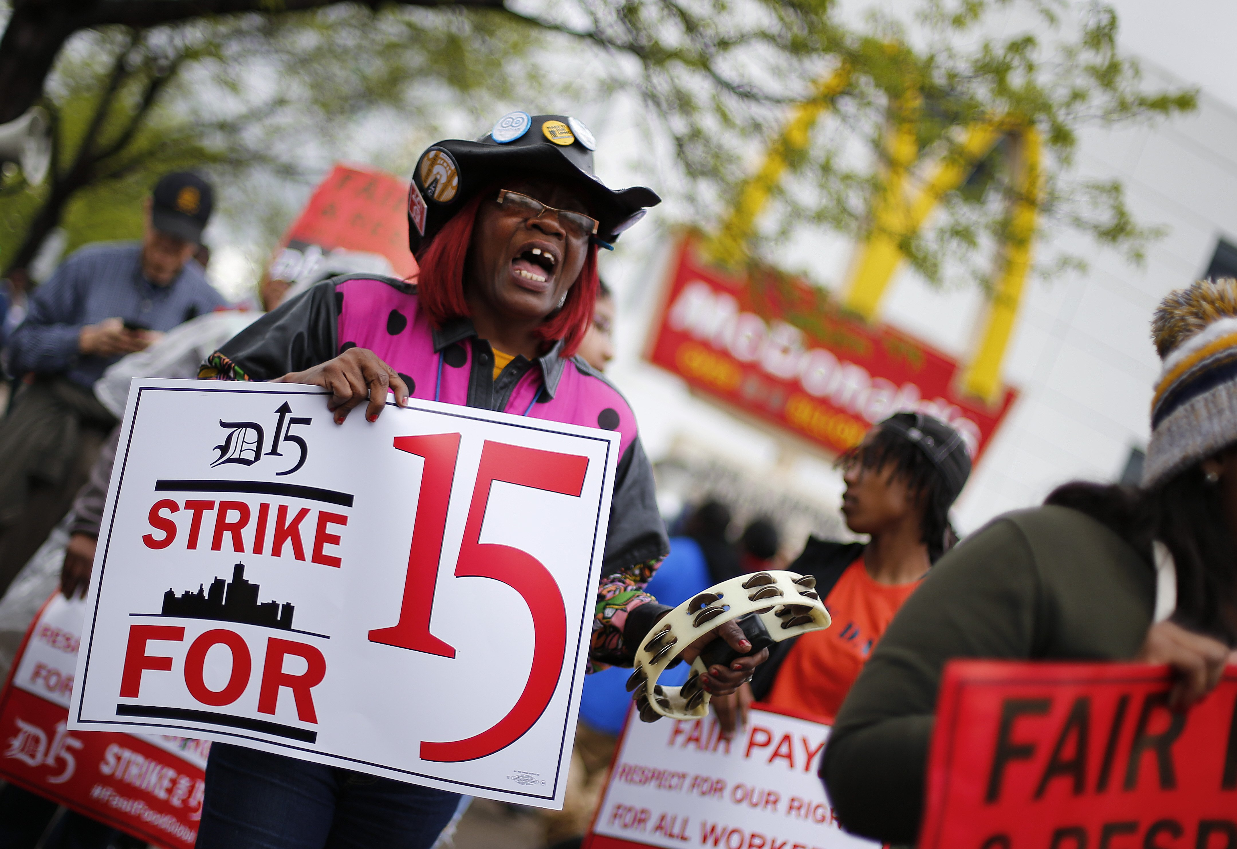 <b>Detroit:</b> Velma Conrelius protests for higher wages outside a McDonalds restaurant on May 15, 2014.