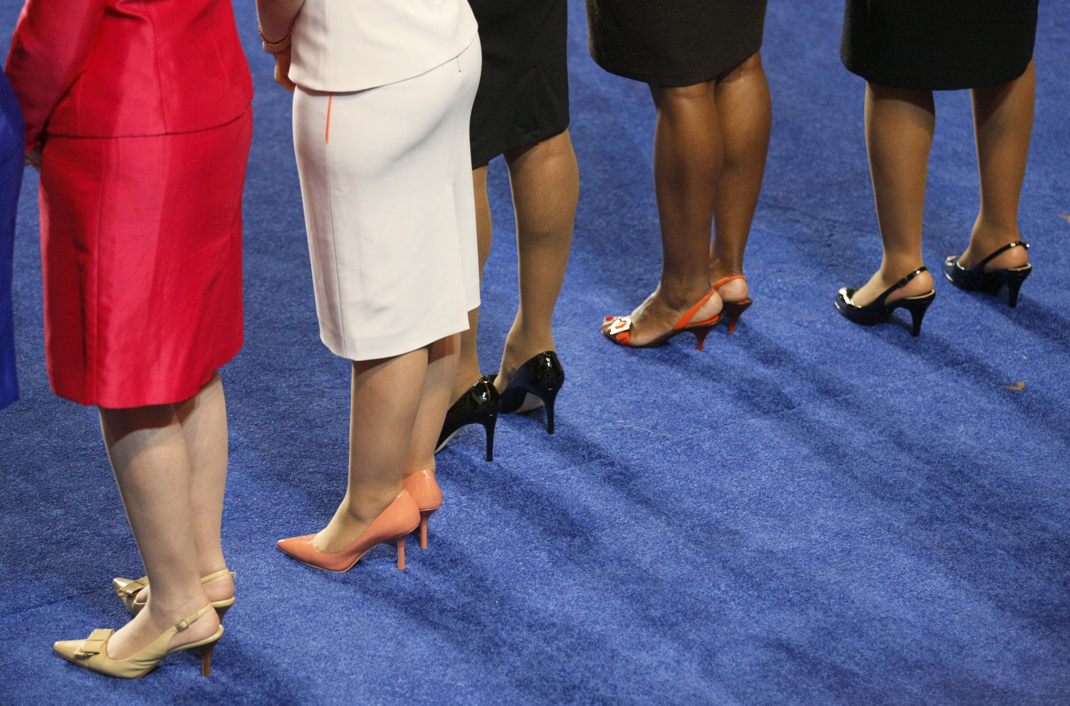 The legs of five women members of the U.S. House of Representatives are seen                    during the opening session of the 2012 Democratic National Convention in Charlotte, North Carolina in 2012.