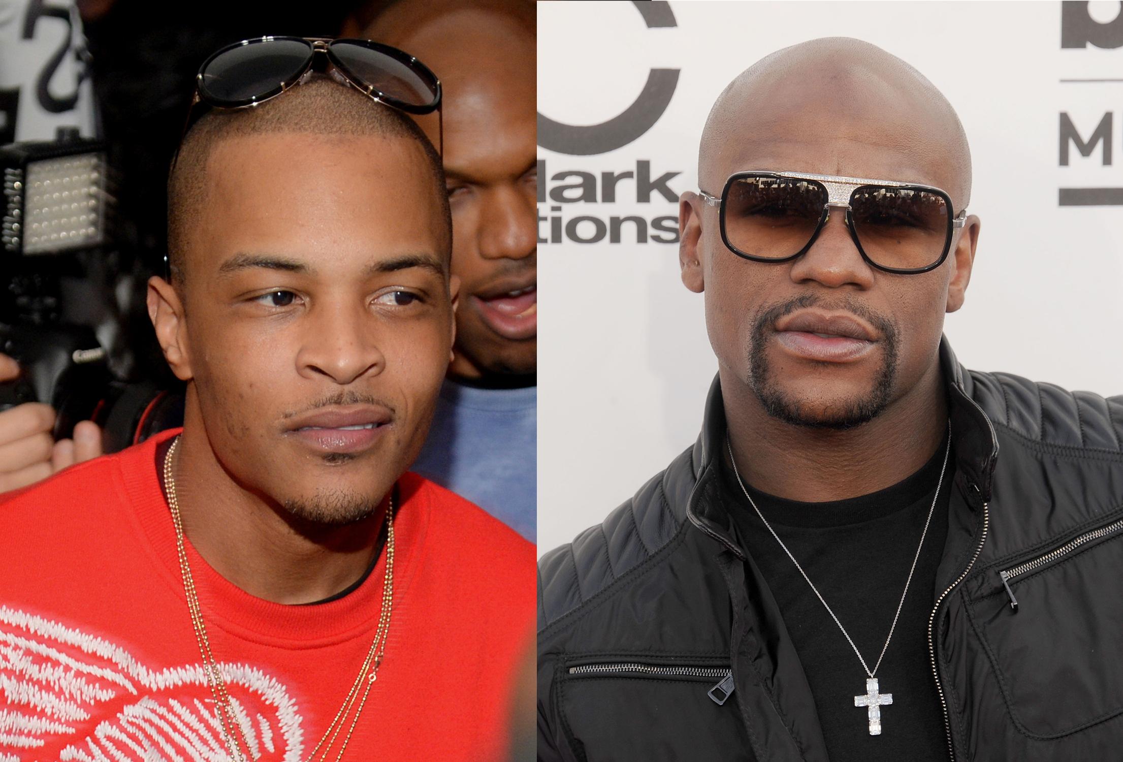Left: rap artist T.I.; right: professional boxer Floyd Mayweather, Jr.