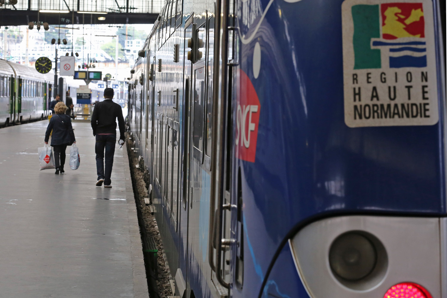 A Regional Express Train, or TER, is sationed along a platform at the Saint Lazare station in Paris, Wednesday May 21, 2014.