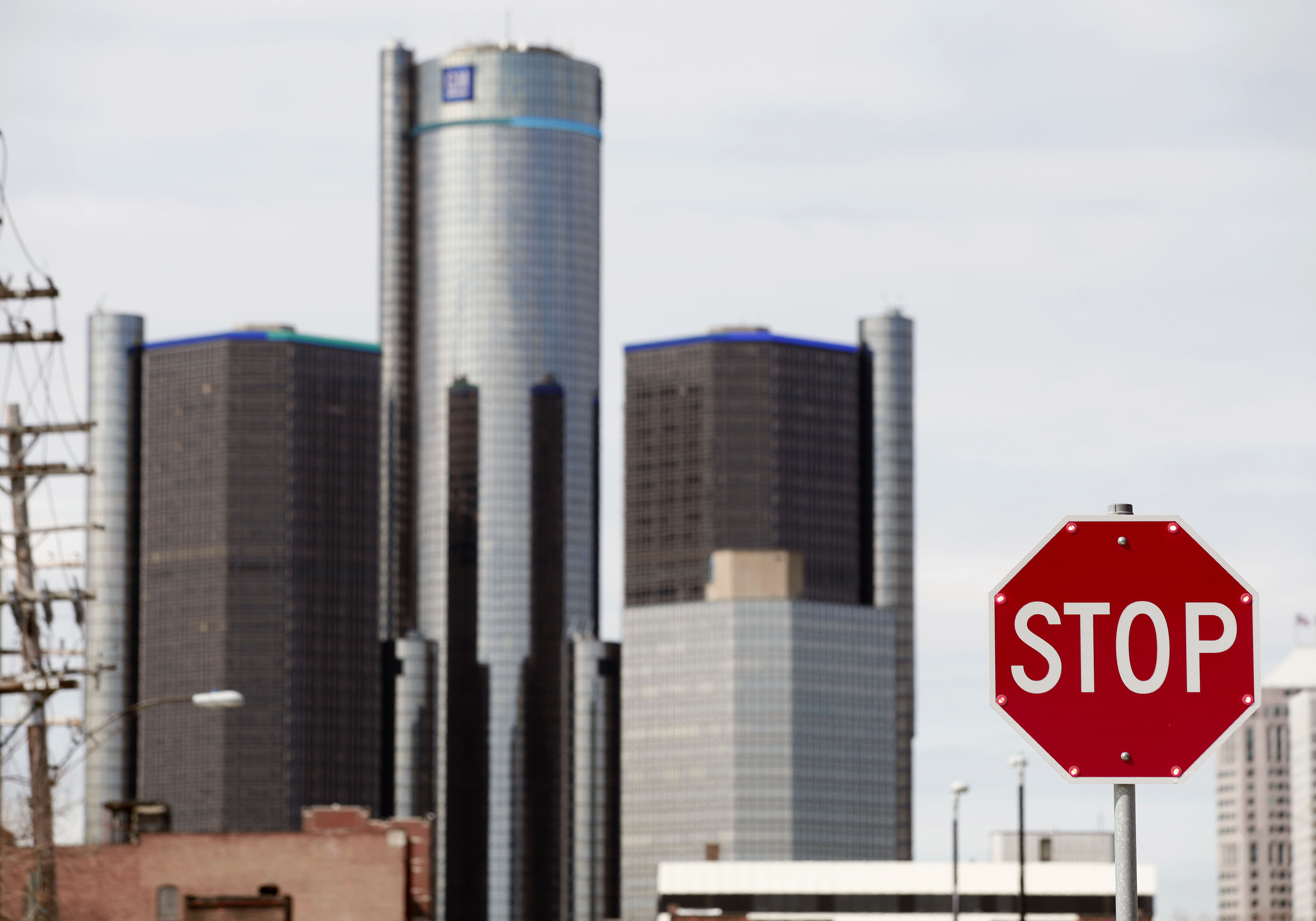 The General Motors world headquarters is shown April 24, 2014 in Detroit, Michigan.