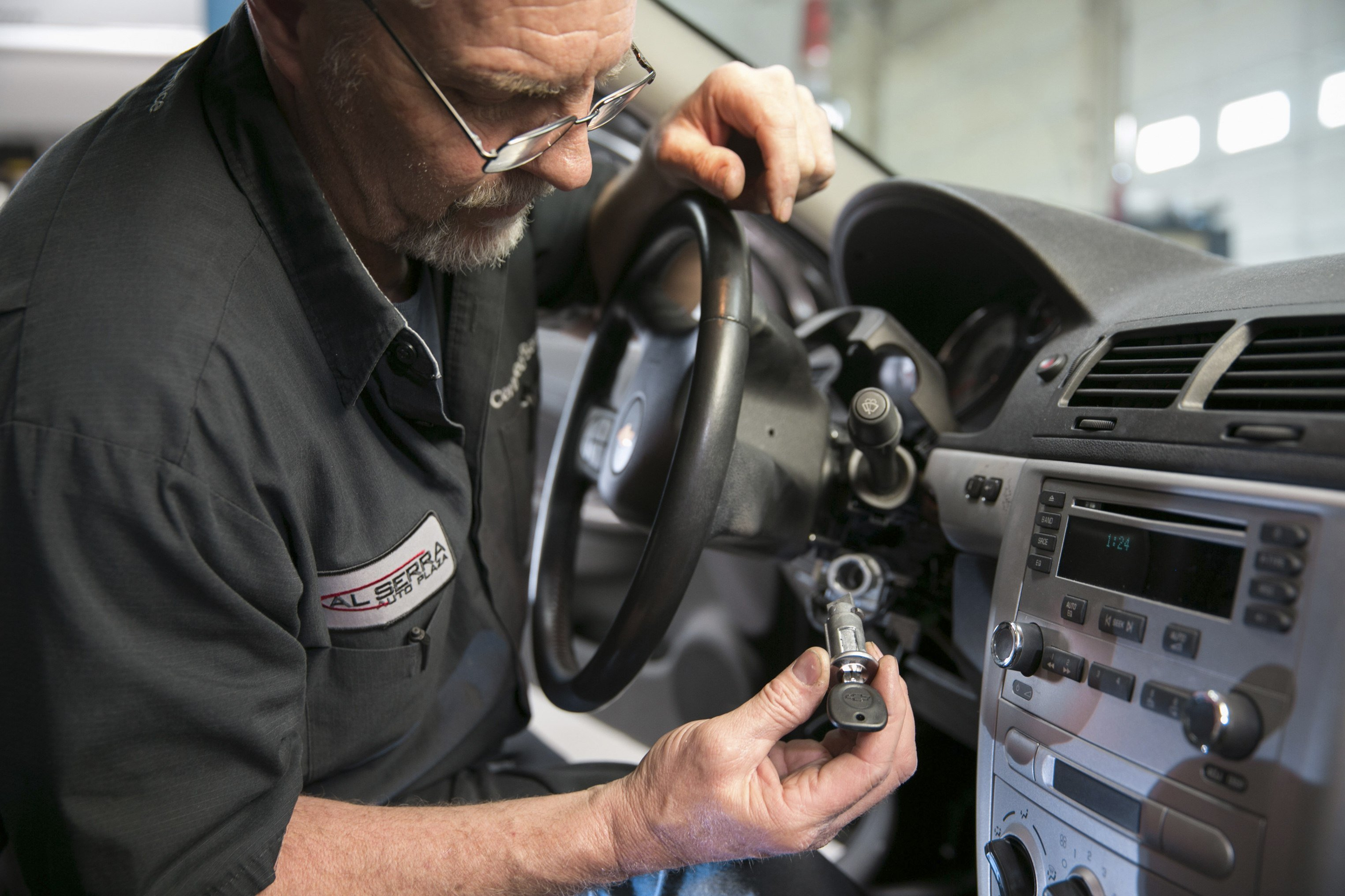 Gary Pittam performs a recall service on a Chevrolet Cobalt at Al Serra Chevrolet in Grand Blanc, Mich., April 17, 2014.