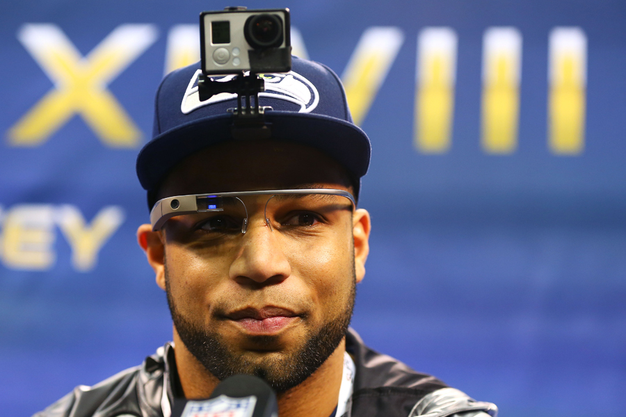 Wide receiver Golden Tate of the Seattle Seahawks speaks to the media during Super Bowl XLVIII Media Day at the Prudential Center in Newark, N.J. on January 28, 2014.