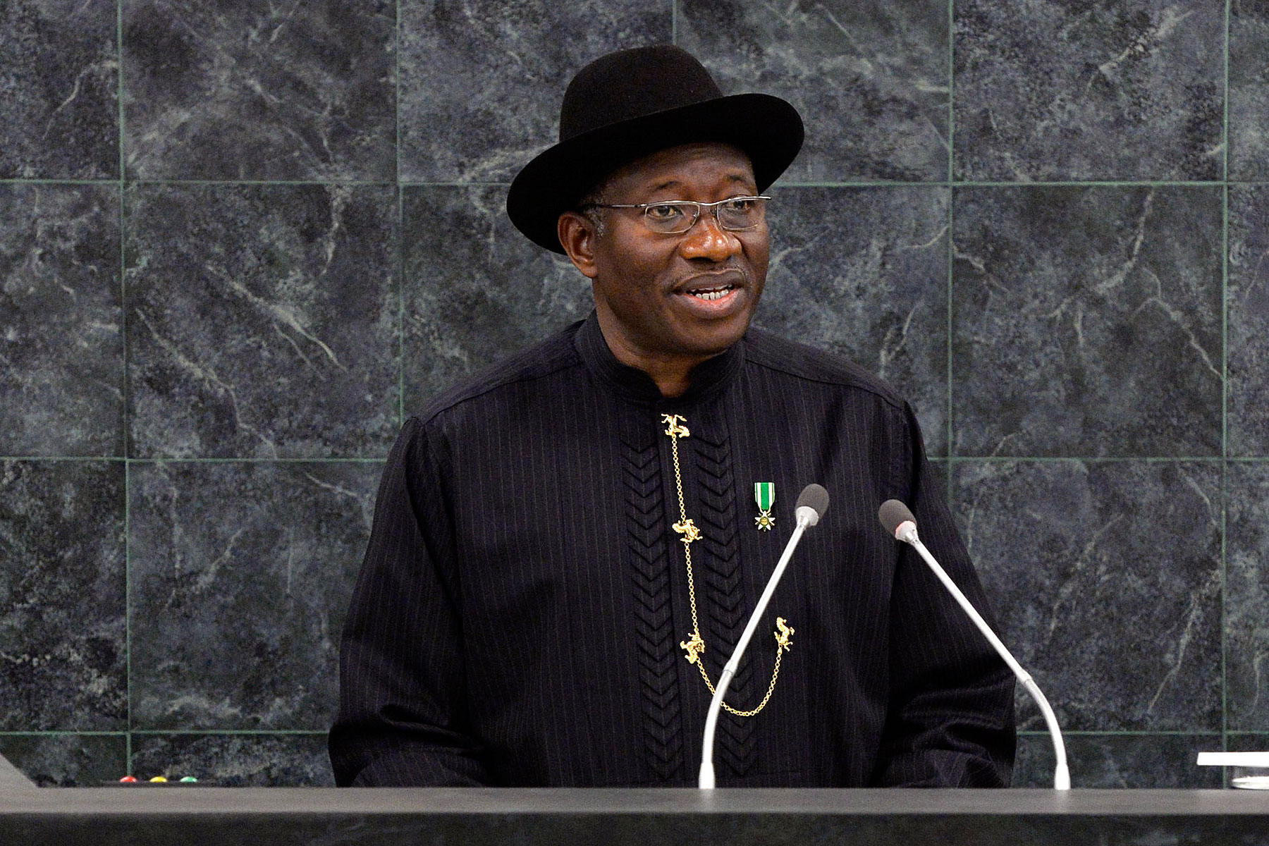 Nigerian President Goodluck Jonathan speaks at the 68th United Nations General Assembly on Sept. 24, 2013 in New York City