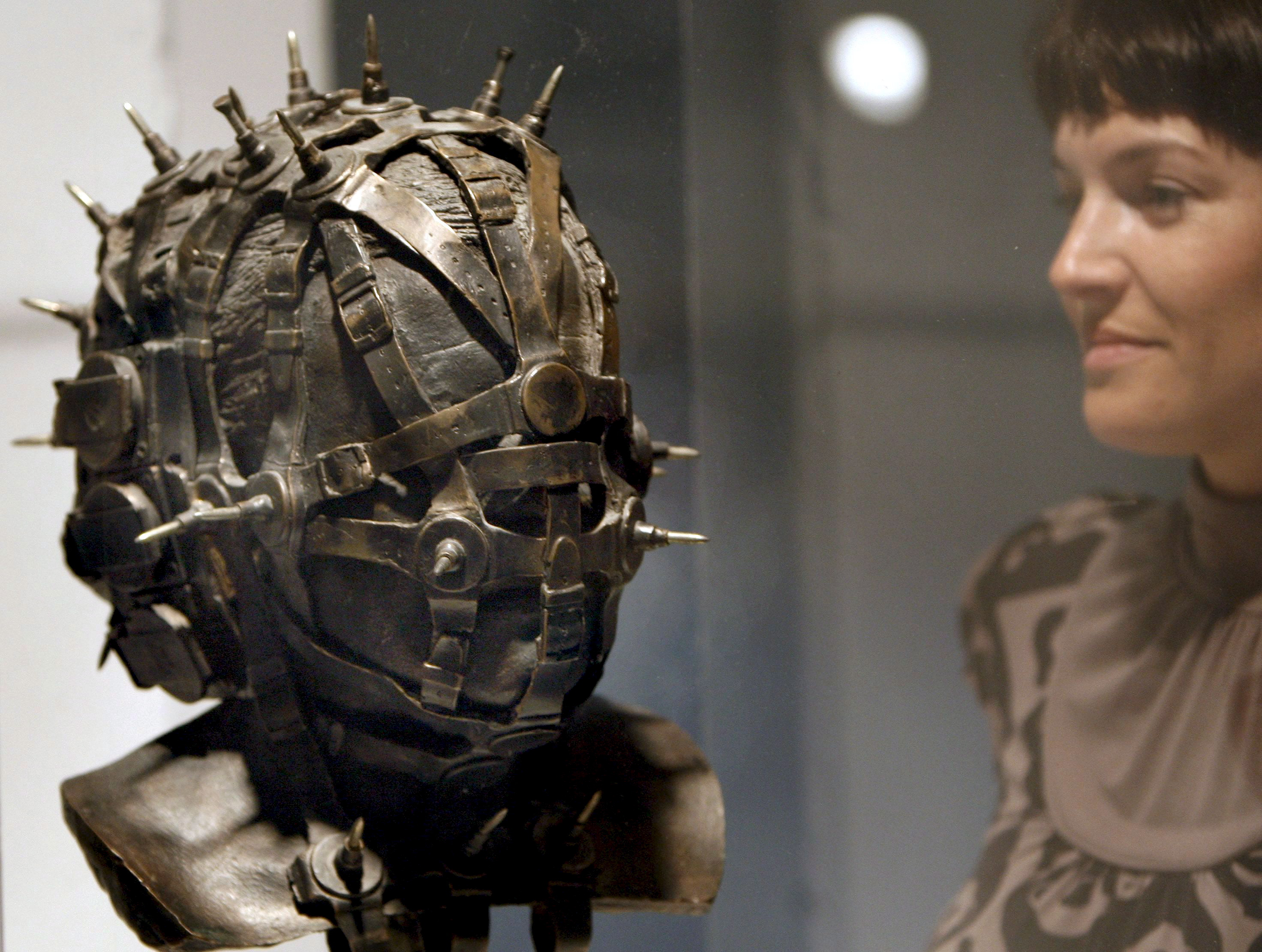 H.R.Giger's 'Watchguardian, head V', on display at the 'Swiss Design in Hollywood' exhibition, at the Technical University of Valecia, Spain on March 4, 2009.