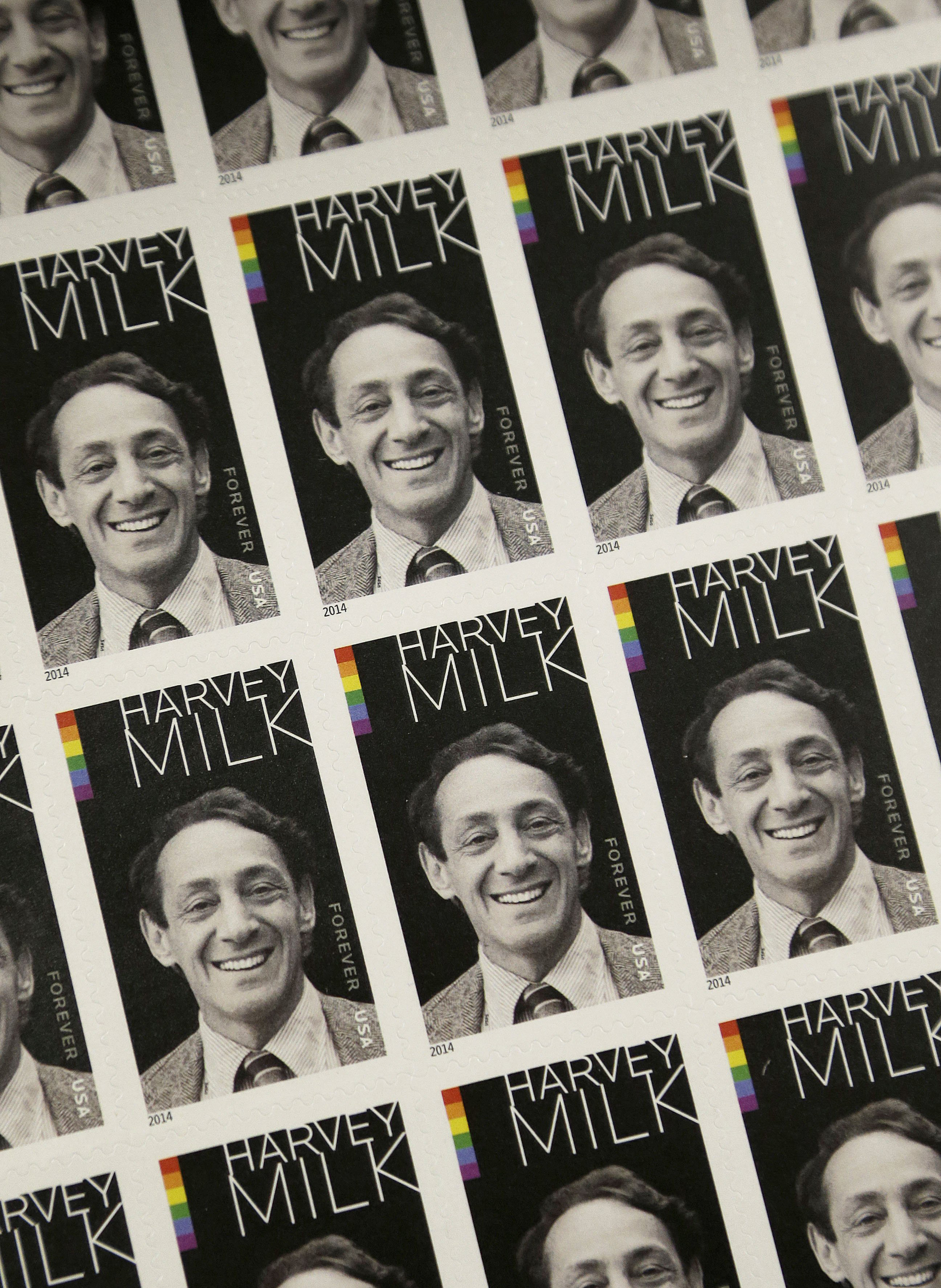 A sheet of commemorative stamps honoring Harvey Milk.