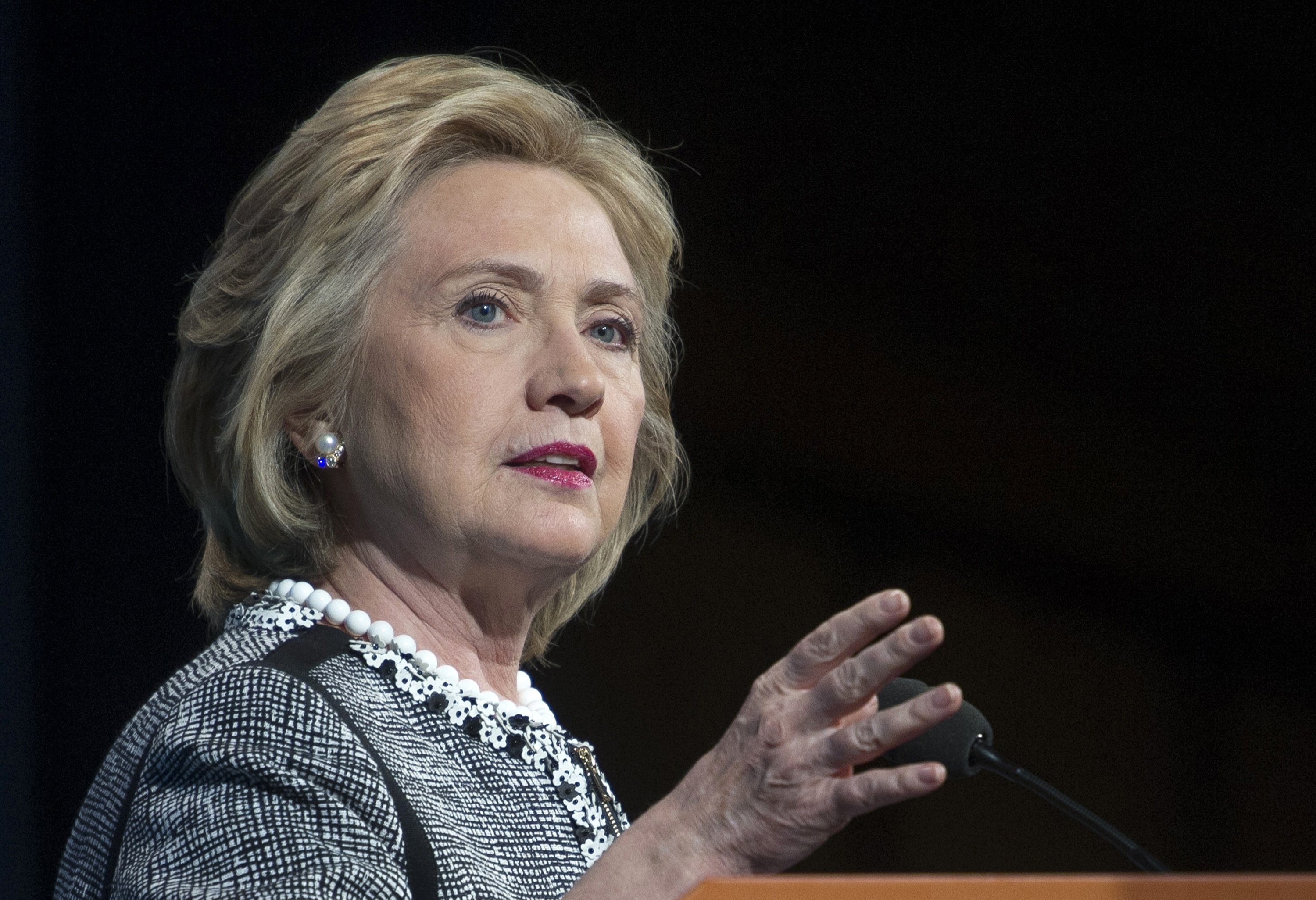 Former Secretary of State Hillary Rodham Clinton speaking in Washington on May 14, 2014.