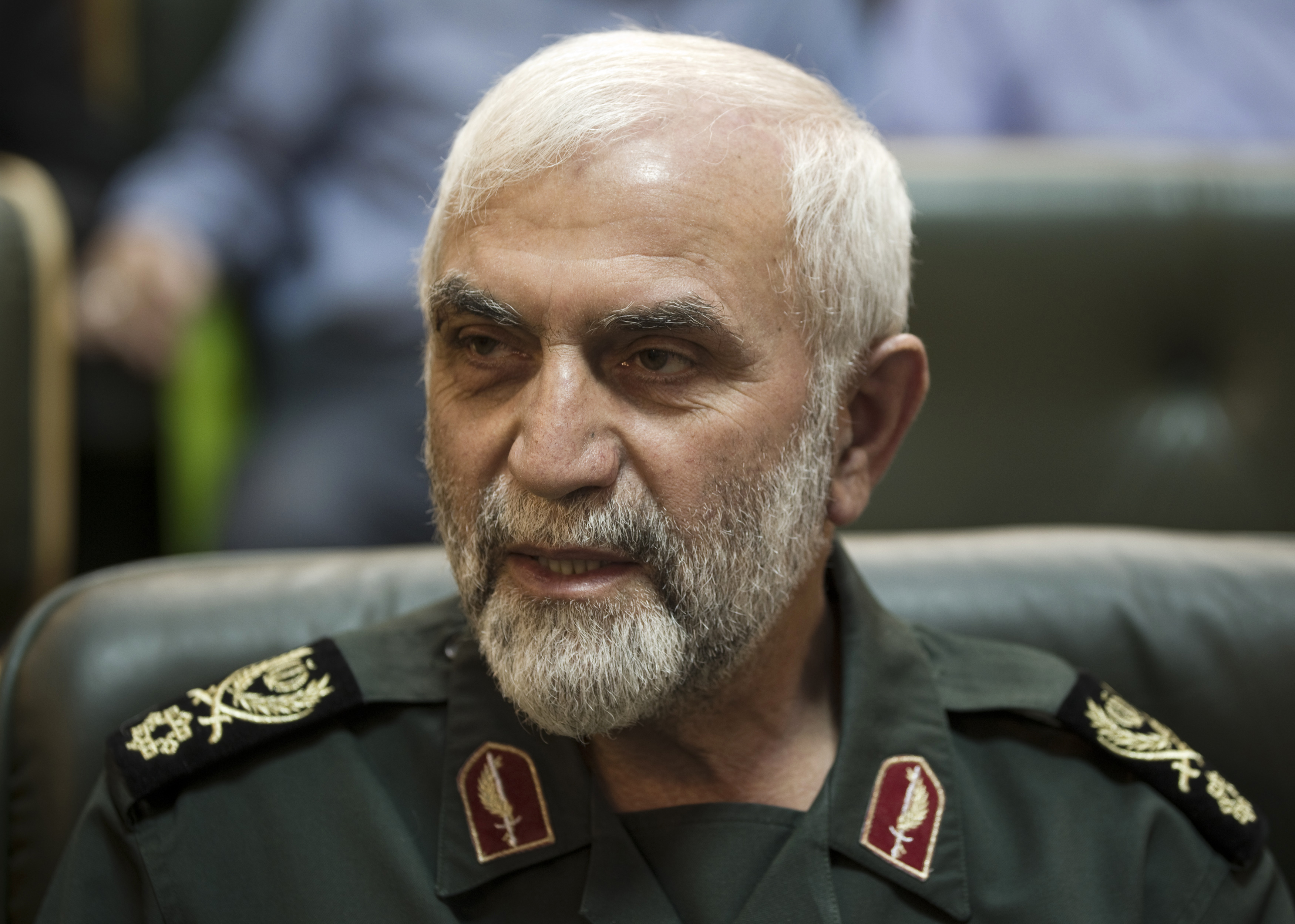 Head of the Mohammad Rasulallah Revolutionary guard base, Hossein Hamedani, attends a conference to mark the martyrs of terrorism in Tehran on Sept. 6, 2011.