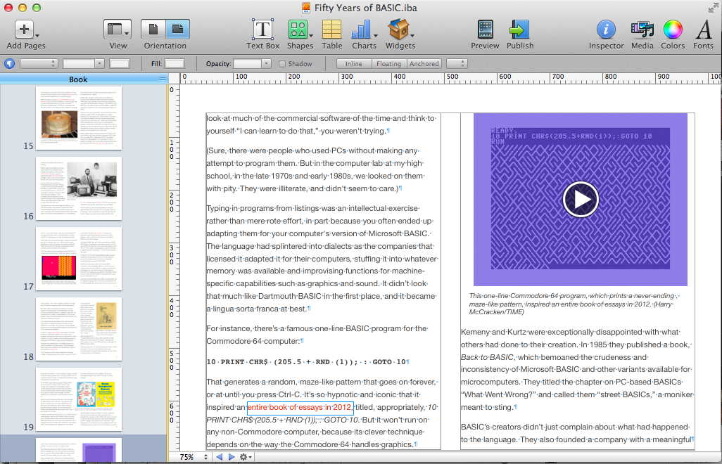 Editing my book in iBooks Author