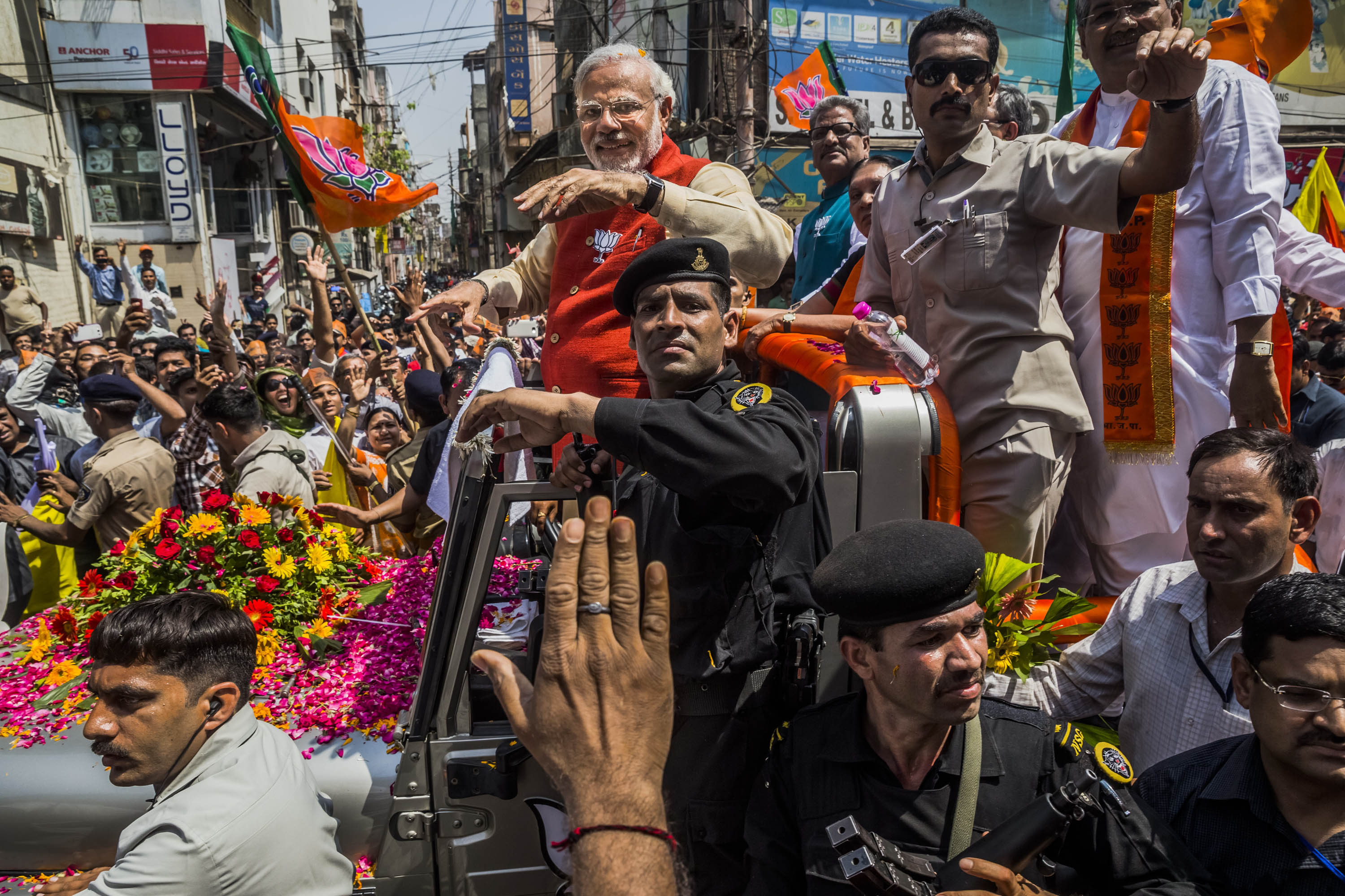 The road to victory, Modi greets supporters at an election rally in Gujarat, where he was chief minister