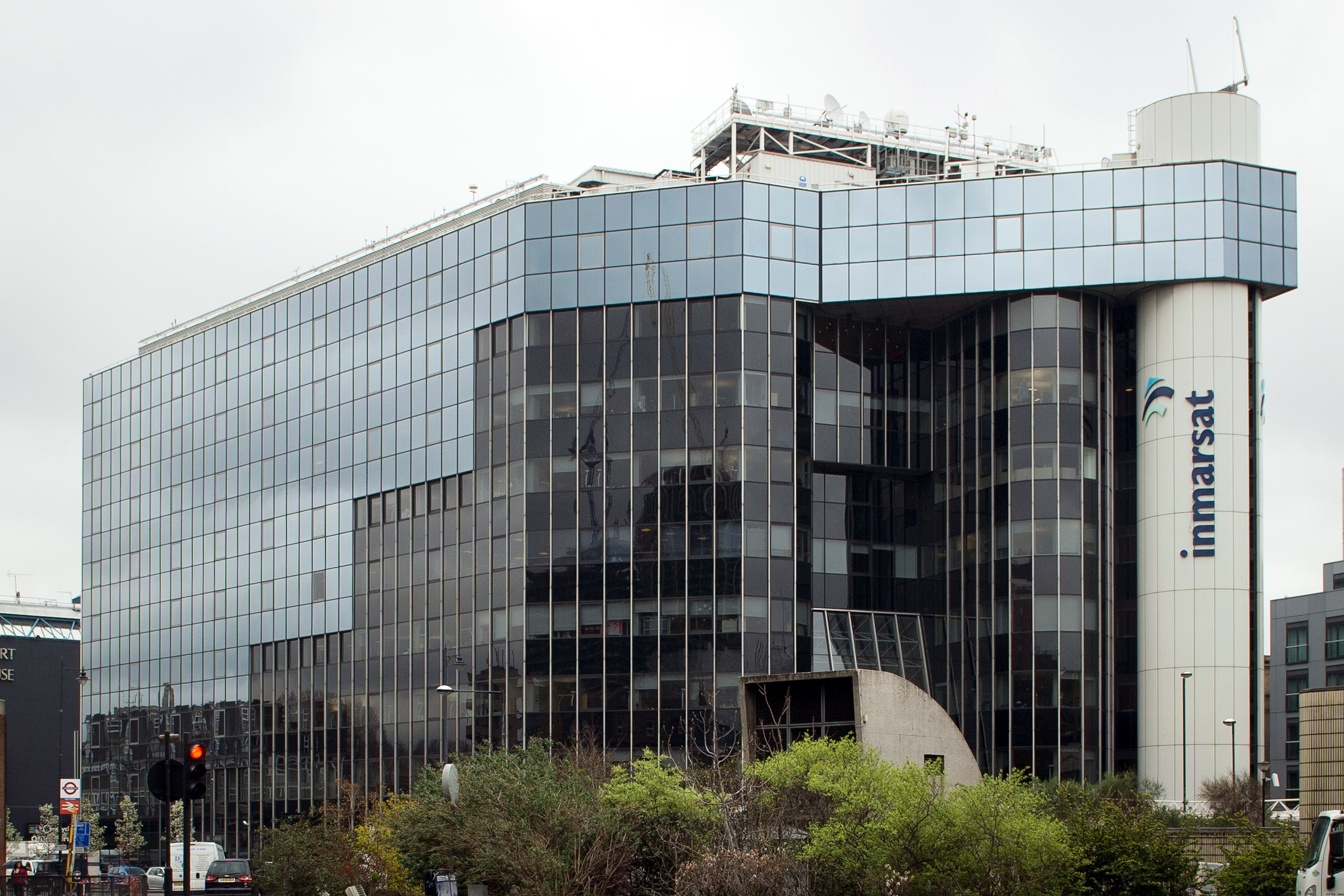 The offices of satellite operator Inmarsat in central London on March 25, 2014.