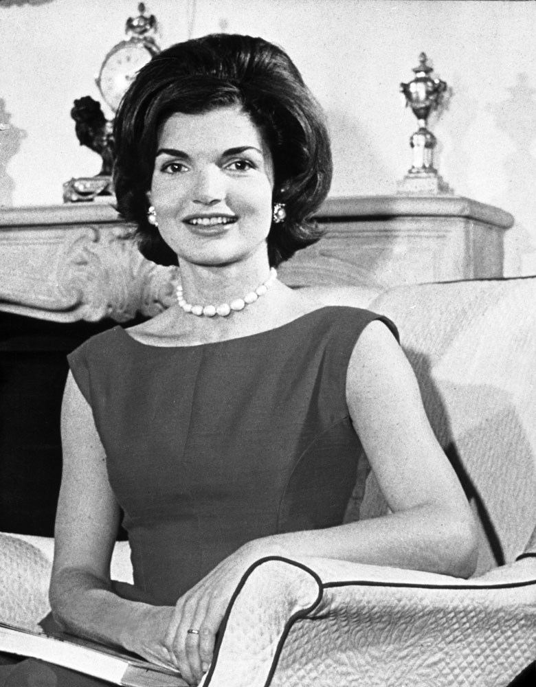 Jackie Kennedy sits in the living room of her Washington, D.C., residence, March 27, 1960 during her husband's campaign.