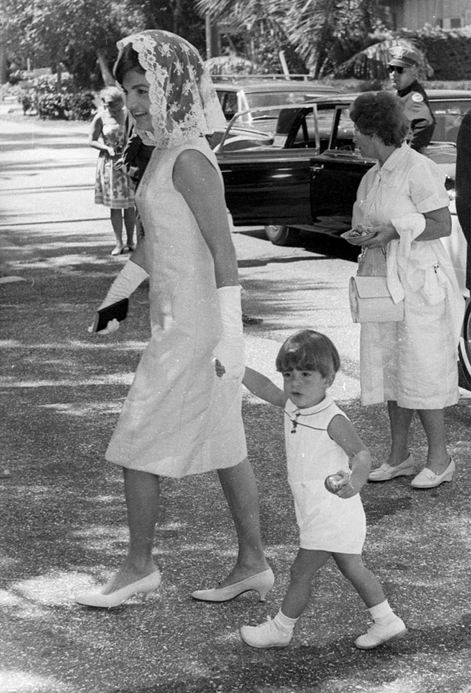 Jackie Kennedy with John F. Kennedy Jr. on Easter Sunday April 14, 1963, in Palm Beach, Fla.