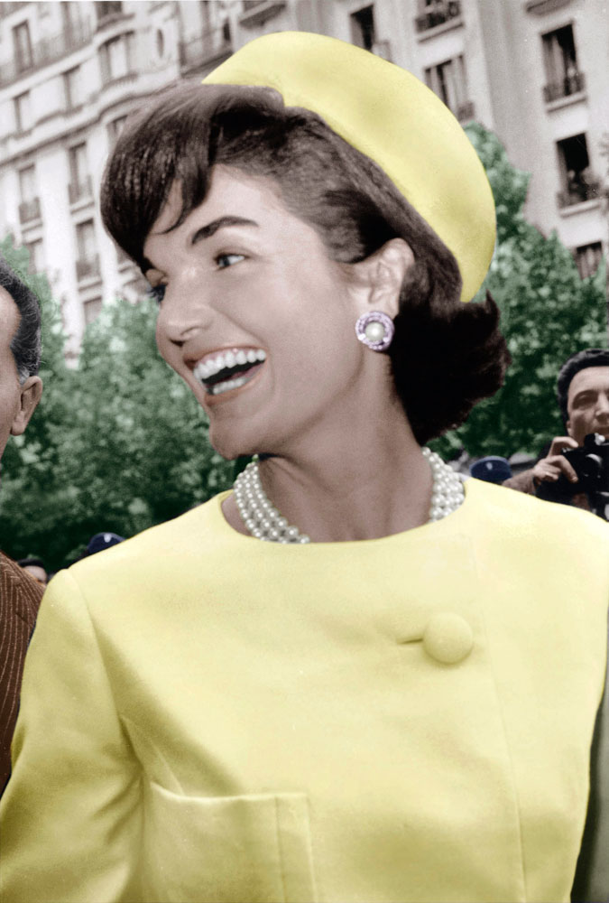 U.S. First Lady Jackie Kennedy on an official visit to Paris in 1961.