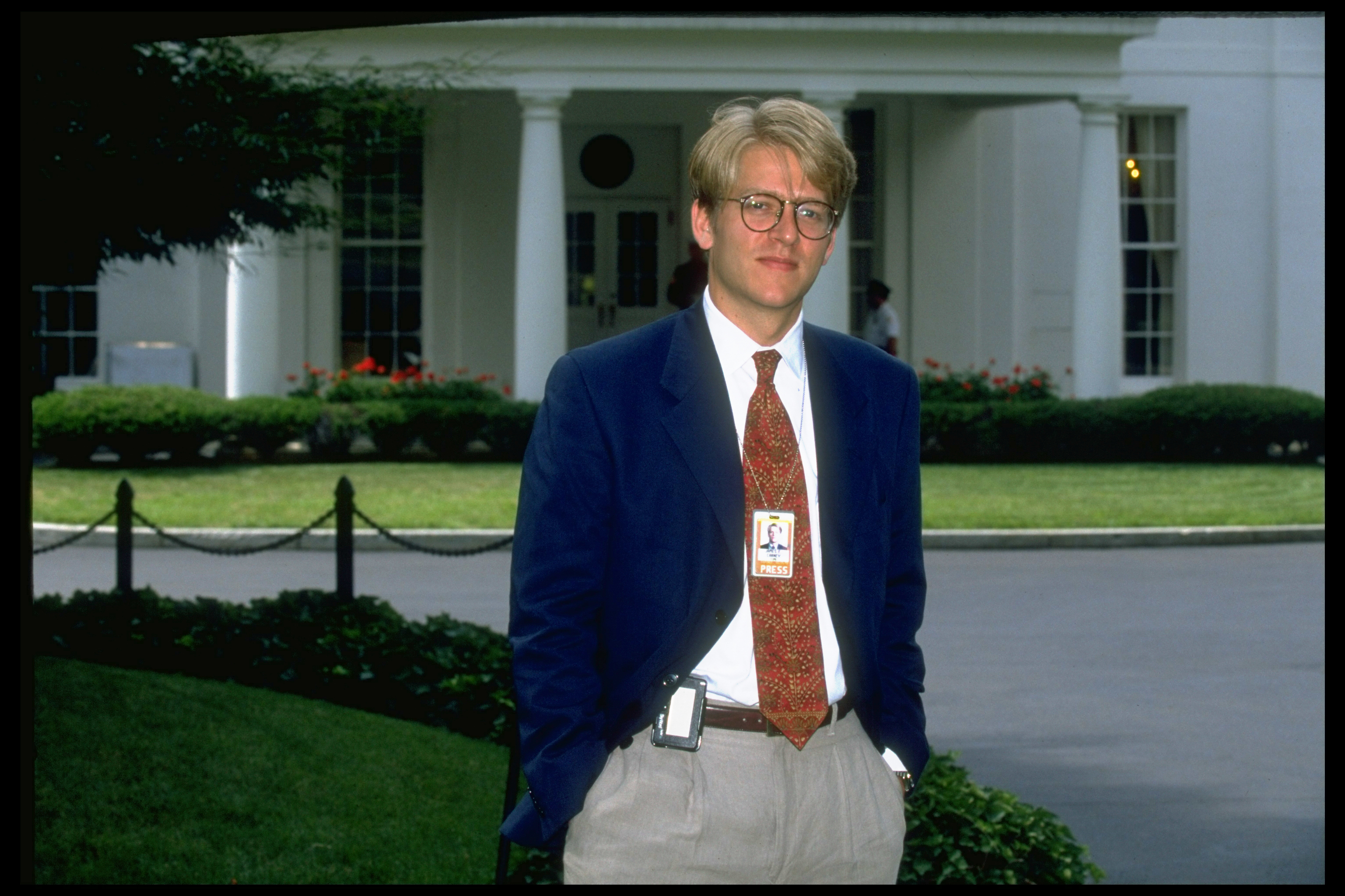TIME White House correspondent Jay Carney outside the West Wing of of the White House in Washington on July 22, 1994.