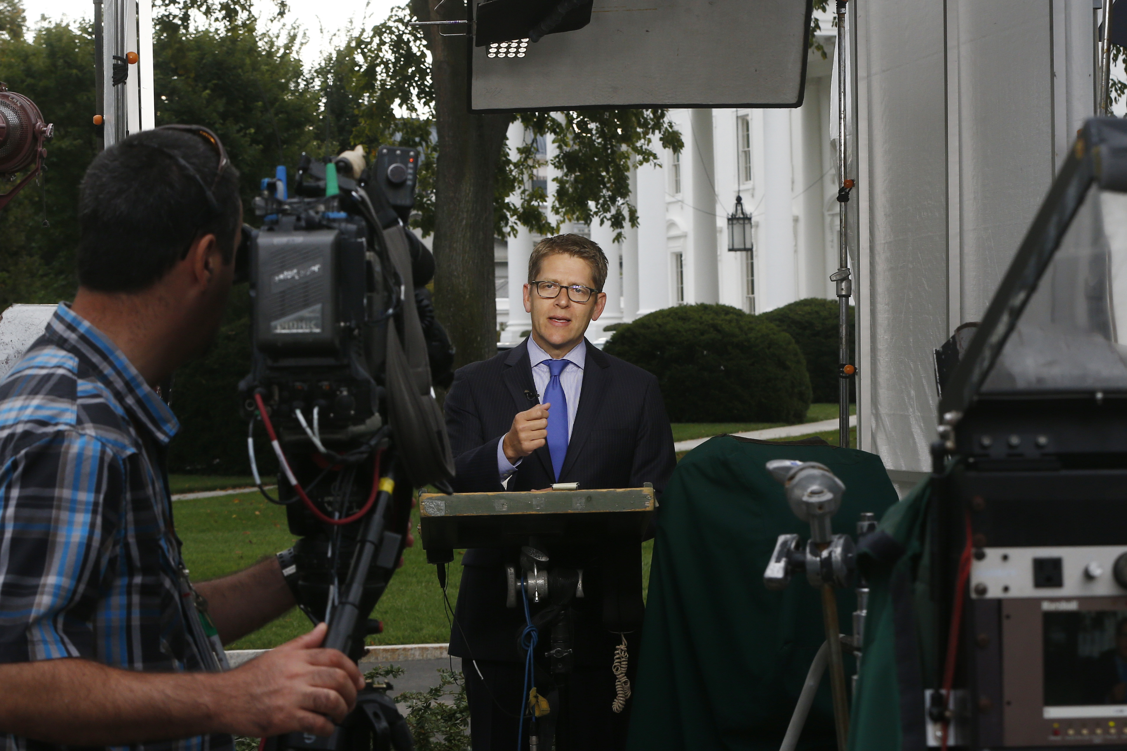White House Press Secretary Jay Carney speaks about the government shutdown on the morning television news shows at the White House on Oct. 1, 2013 in Washington.