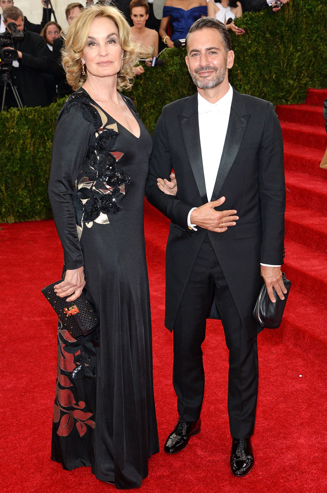 From left: Jessica Lange and Marc Jacobs attend The Metropolitan Museum of Art's Costume Institute benefit gala celebrating  Charles James: Beyond Fashion  on May 5, 2014, in New York City.