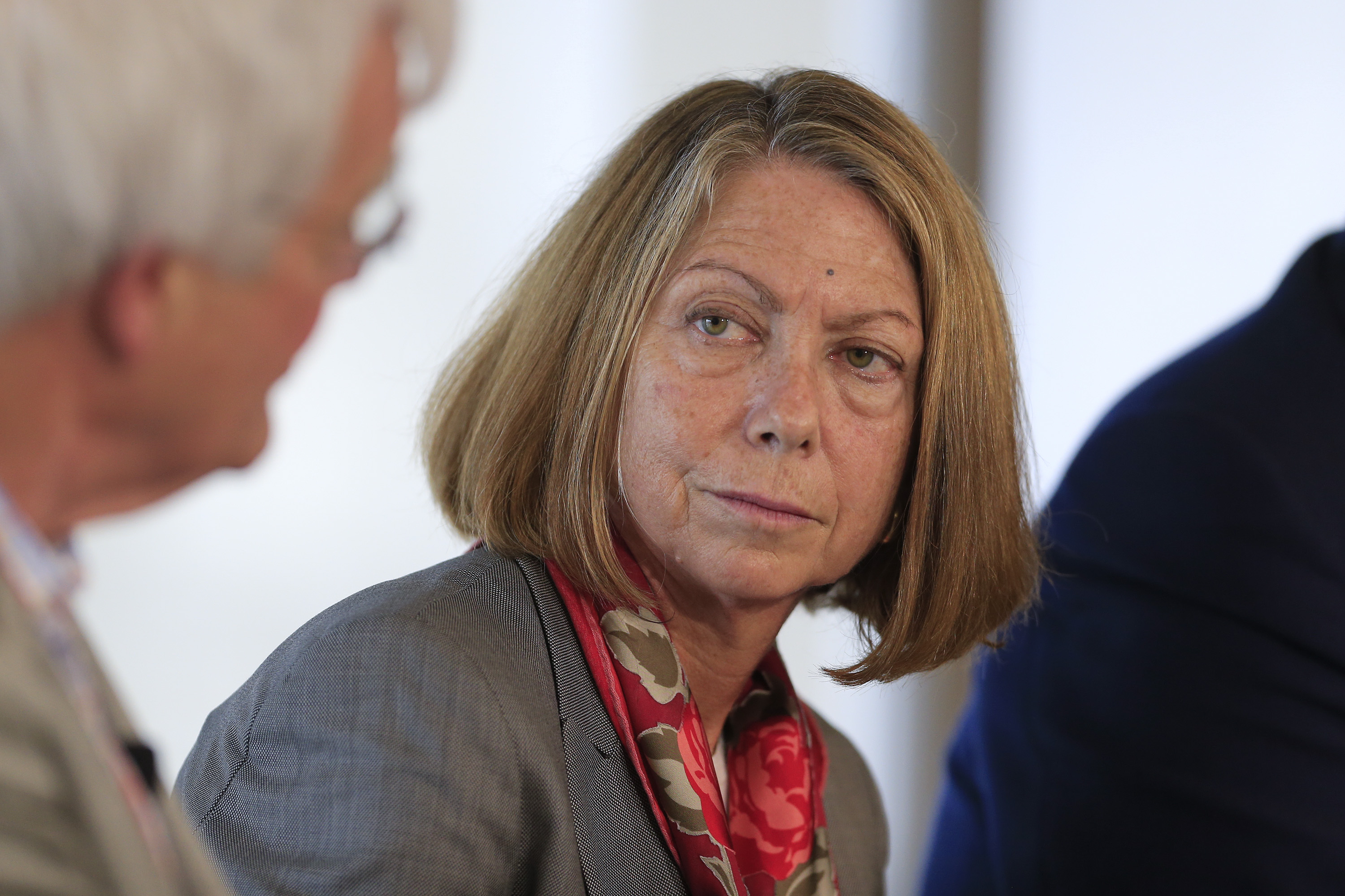 Jill Abramson, executive editor of The New York Times, listens during a panel discussion on the sidelines of the Republican National Convention (RNC) in Tampa on Aug. 26, 2012.