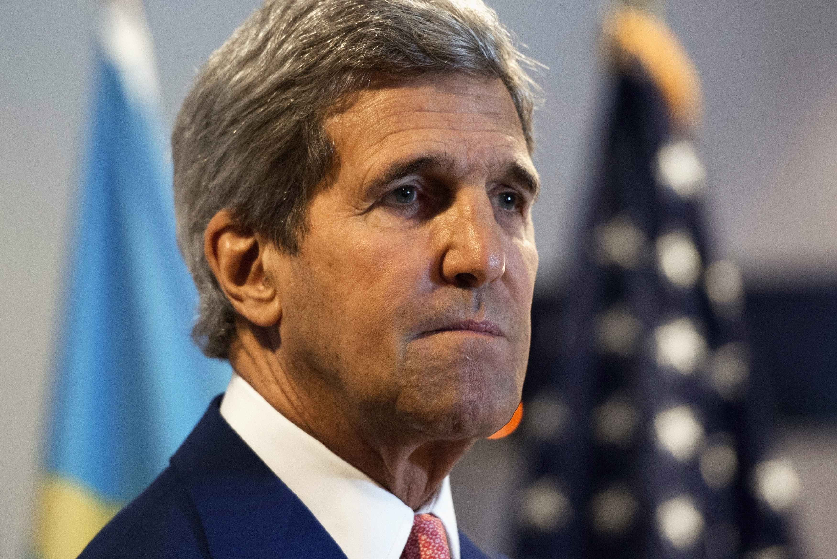 U.S. Secretary of State John Kerry gives a news conference after meetings at the Palais de la Nation in Kinshasa, Democratic Republic of Congo on May 4, 2014.