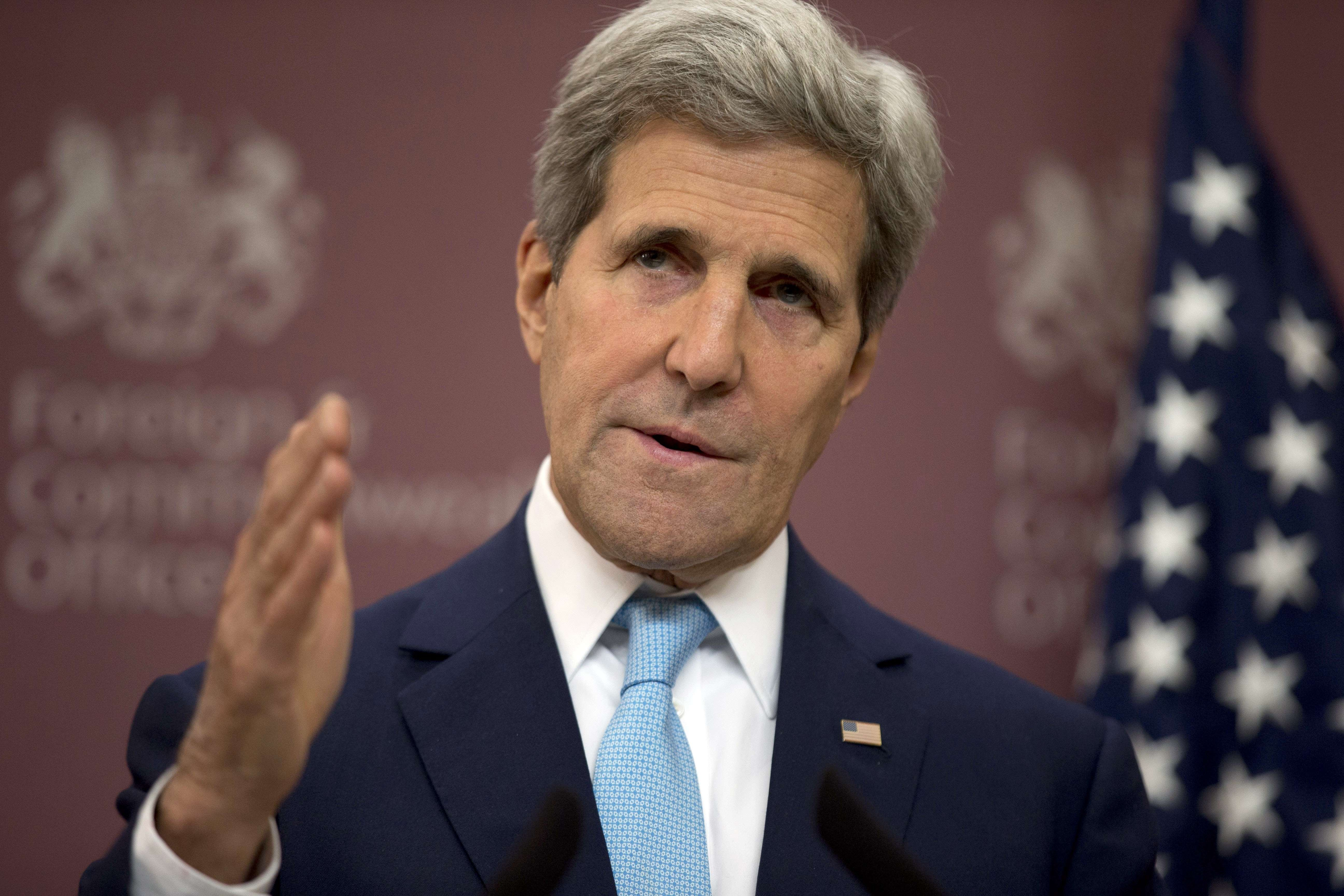 U.S. Secretary of State John Kerry speaks during a press conference following the Friends of Syria meeting in London on May 15, 2014.