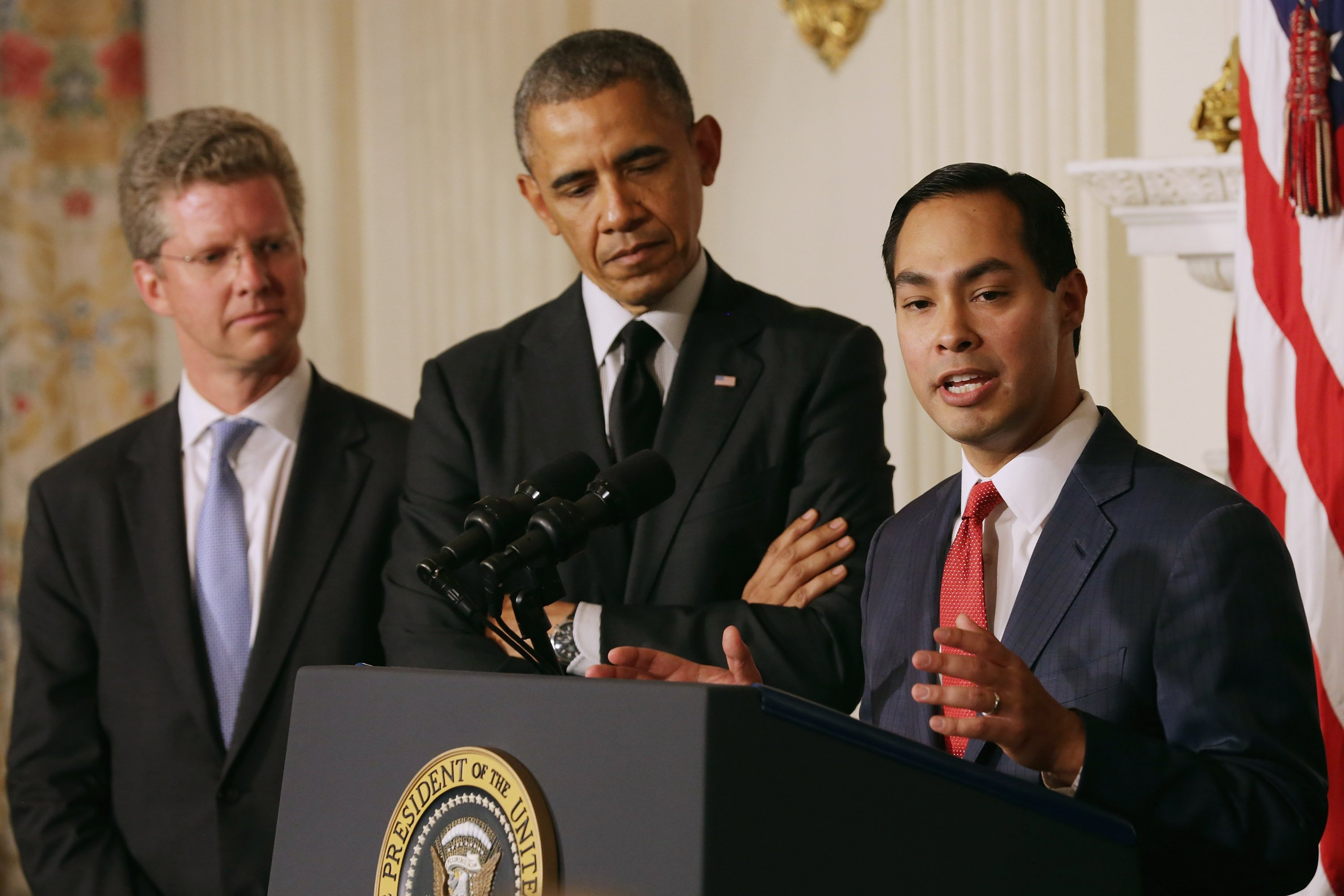 San Antonio Mayor Julian Castro (R) delivers remarks after U.S. President Barack Obama (C) announced his nomination of Castro to lead the Department of Housing and Urban Development and Shaun Donovan (L) as the nominee to head the Office of Management and Budget in the State Dining Room at the White House on May 23, 2014 in Washington.