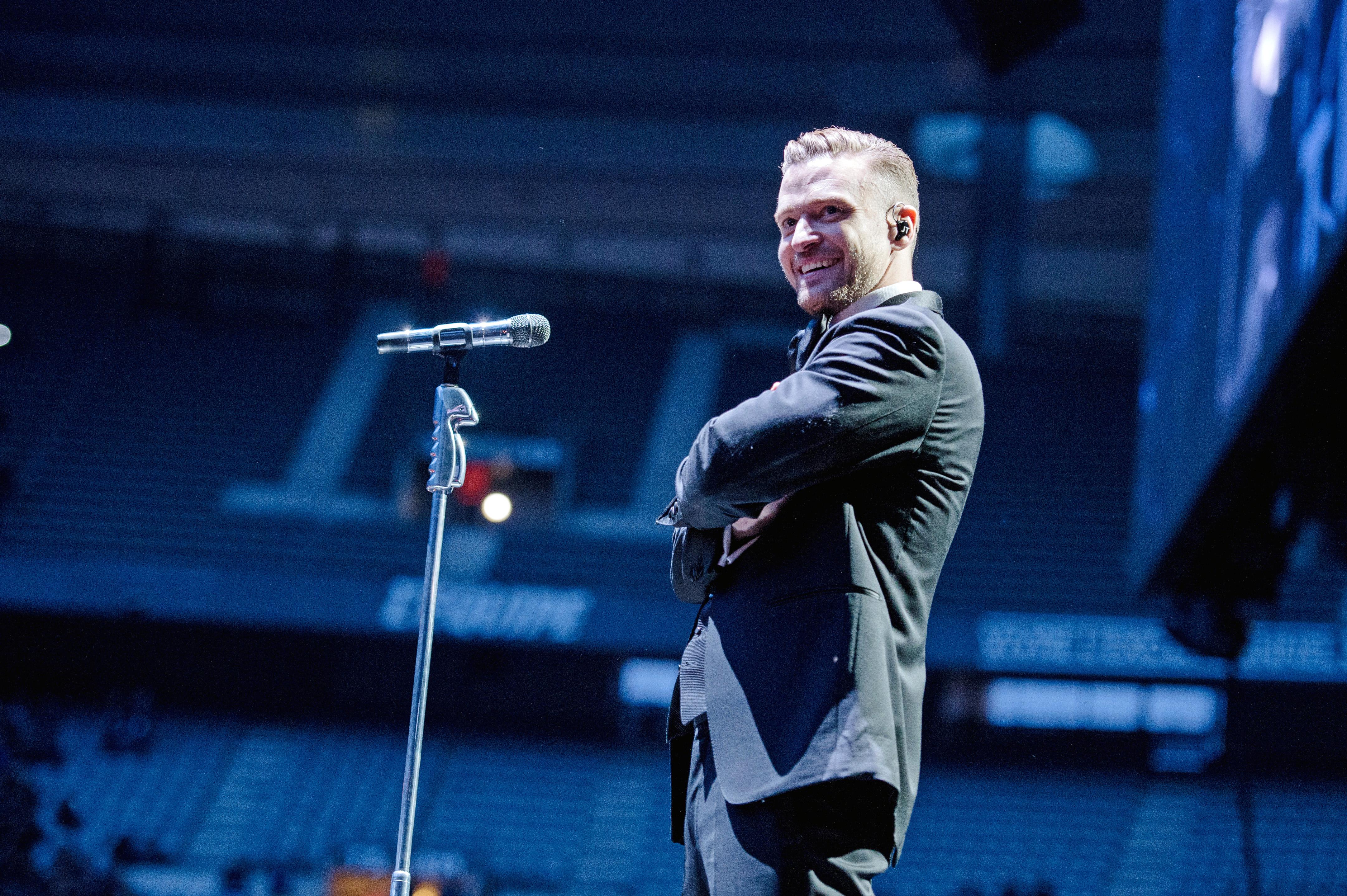 Justin Timberlake performs at Stade de France on April 26, 2014 in Paris.