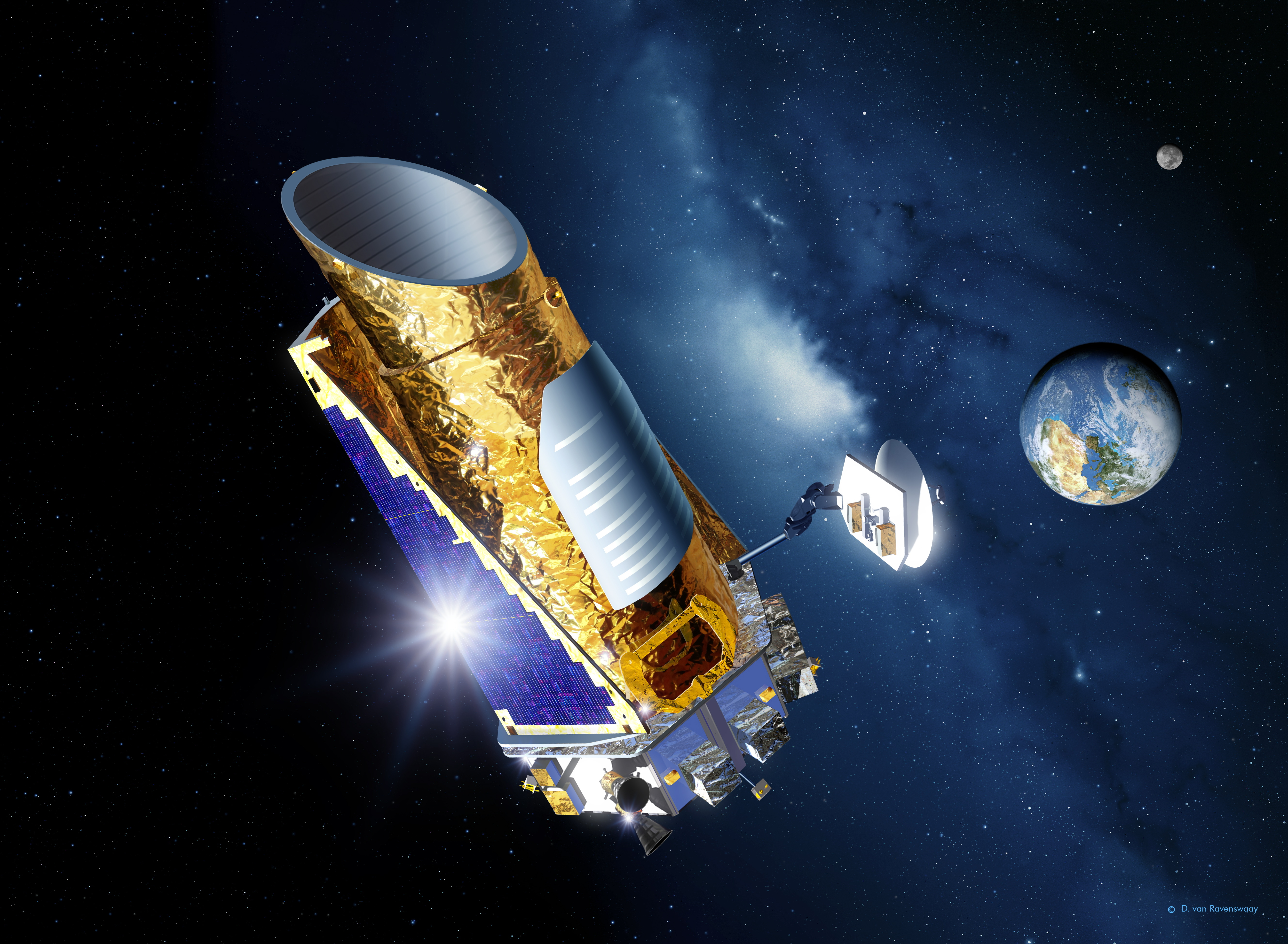 Kepler, in an artist's rendering: orbiting close to home, but looking far, far away