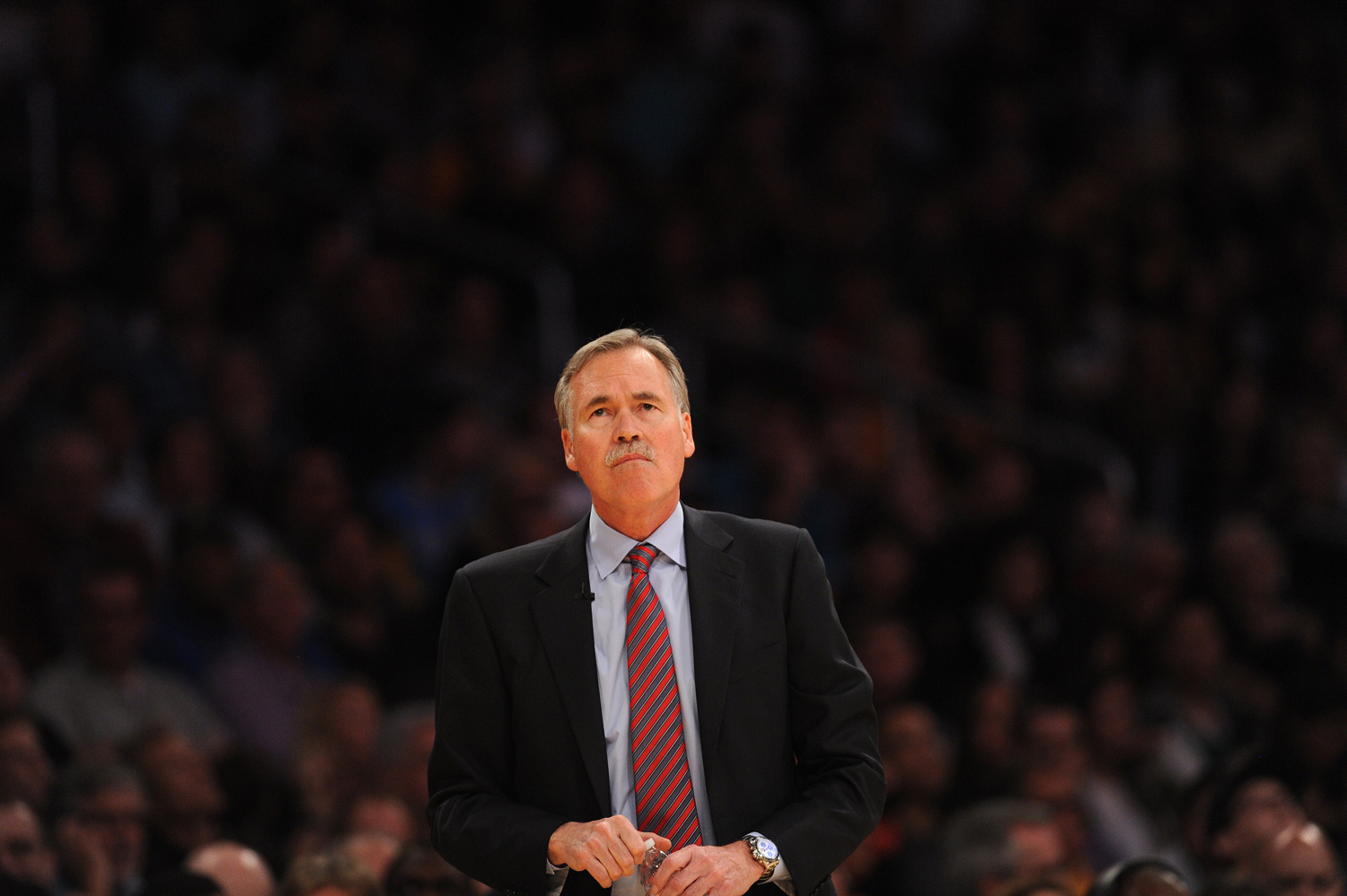 Mike D'Antoni watches from the sidelines during the NBA game between the Los Angeles Lakers and the Boston Celtics at the Staples Center in Los Angeles on Feb. 21, 2014
